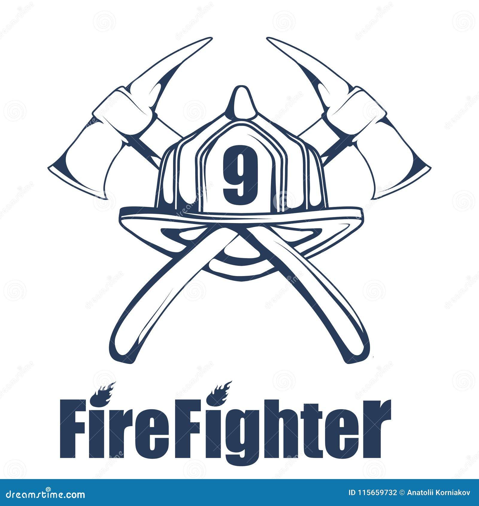 Πυροσβεστικό λογότυπο Το κεφάλι πυροσβεστών ` s σε μια μάσκα