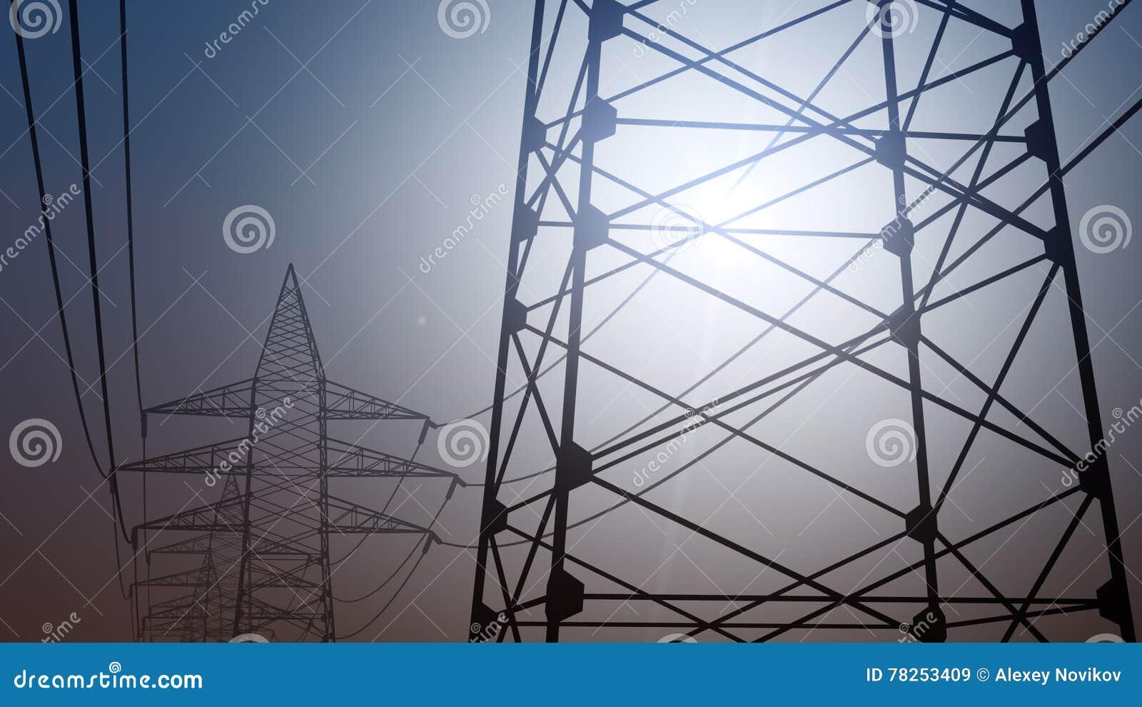 Πυλώνες και καλώδια δύναμης ενάντια στον ασυννέφιαστο ουρανό, τρισδιάστατη απόδοση