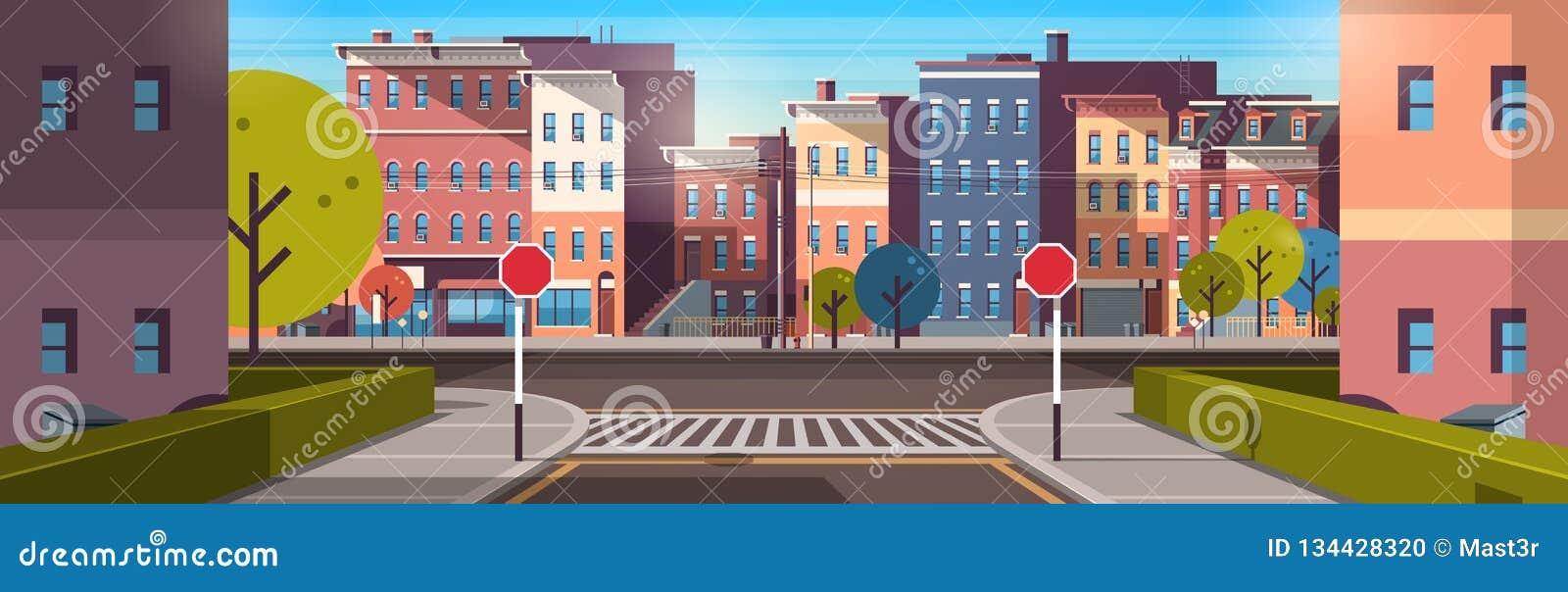 Πόλεων οδών οικοδόμησης σπιτιών οριζόντιο έμβλημα ανατολής ξημερωμάτων οδικής αστικό εικονικής παράστασης πόλης αρχιτεκτονικής κε