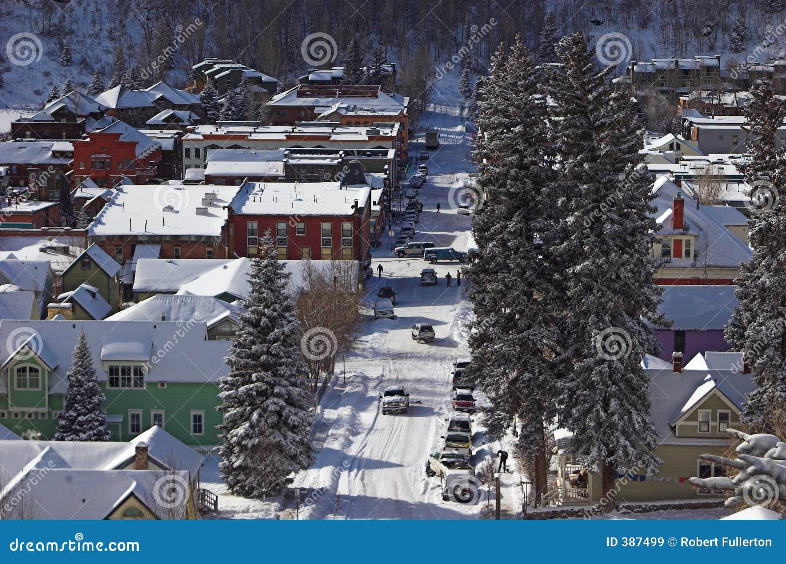 πόλης χειμώνας οδών σκηνής &mu