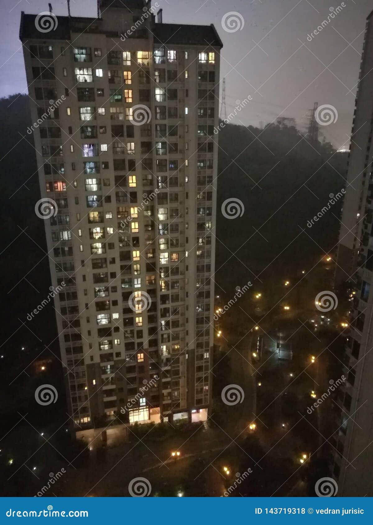 Πόλη Guangzhou Κίνα νύχτας