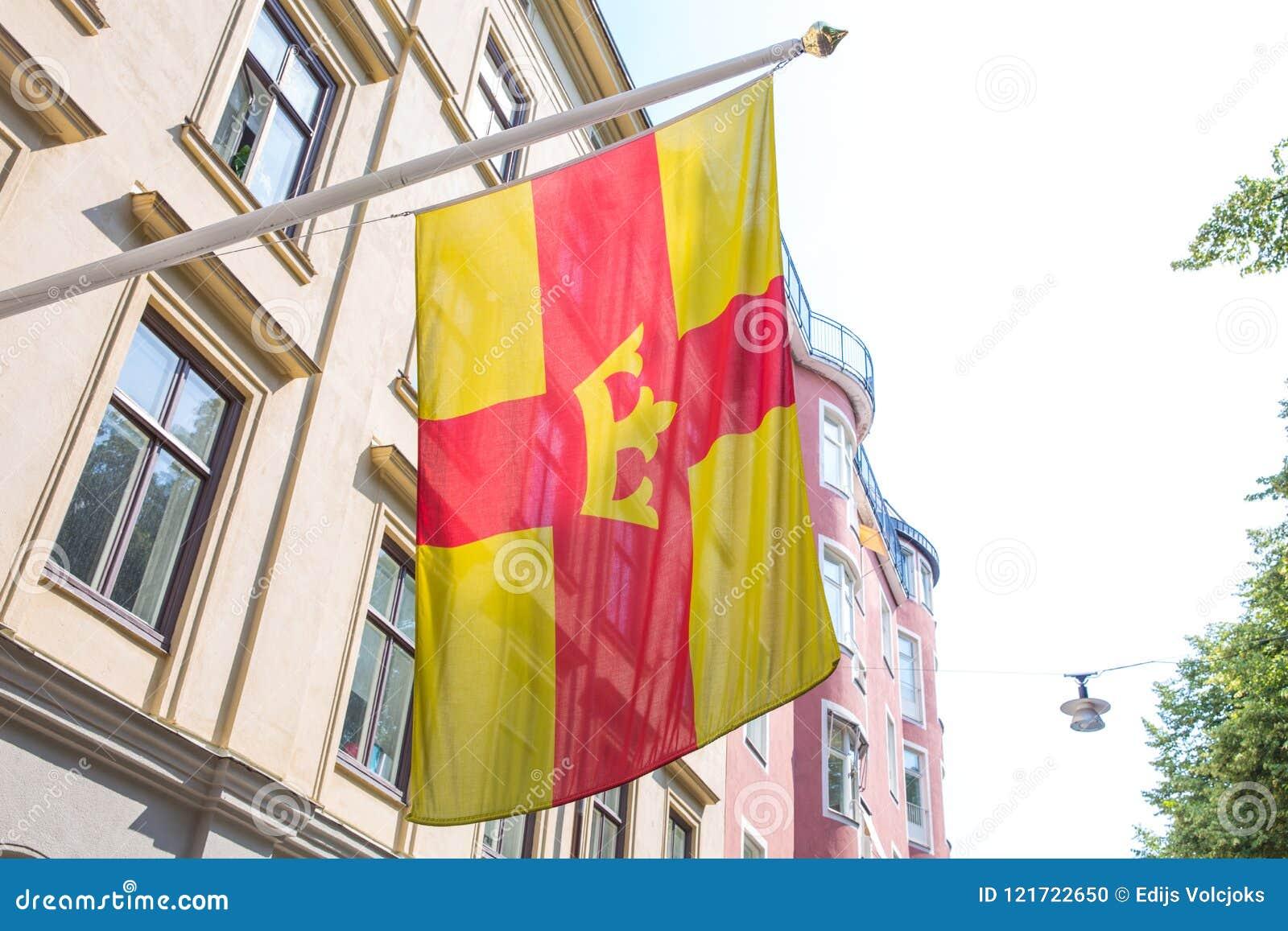 Πόλη Stocholm, Σουηδία Αστική άποψη πόλεων, οδός, σημαία πόλεων και Bu