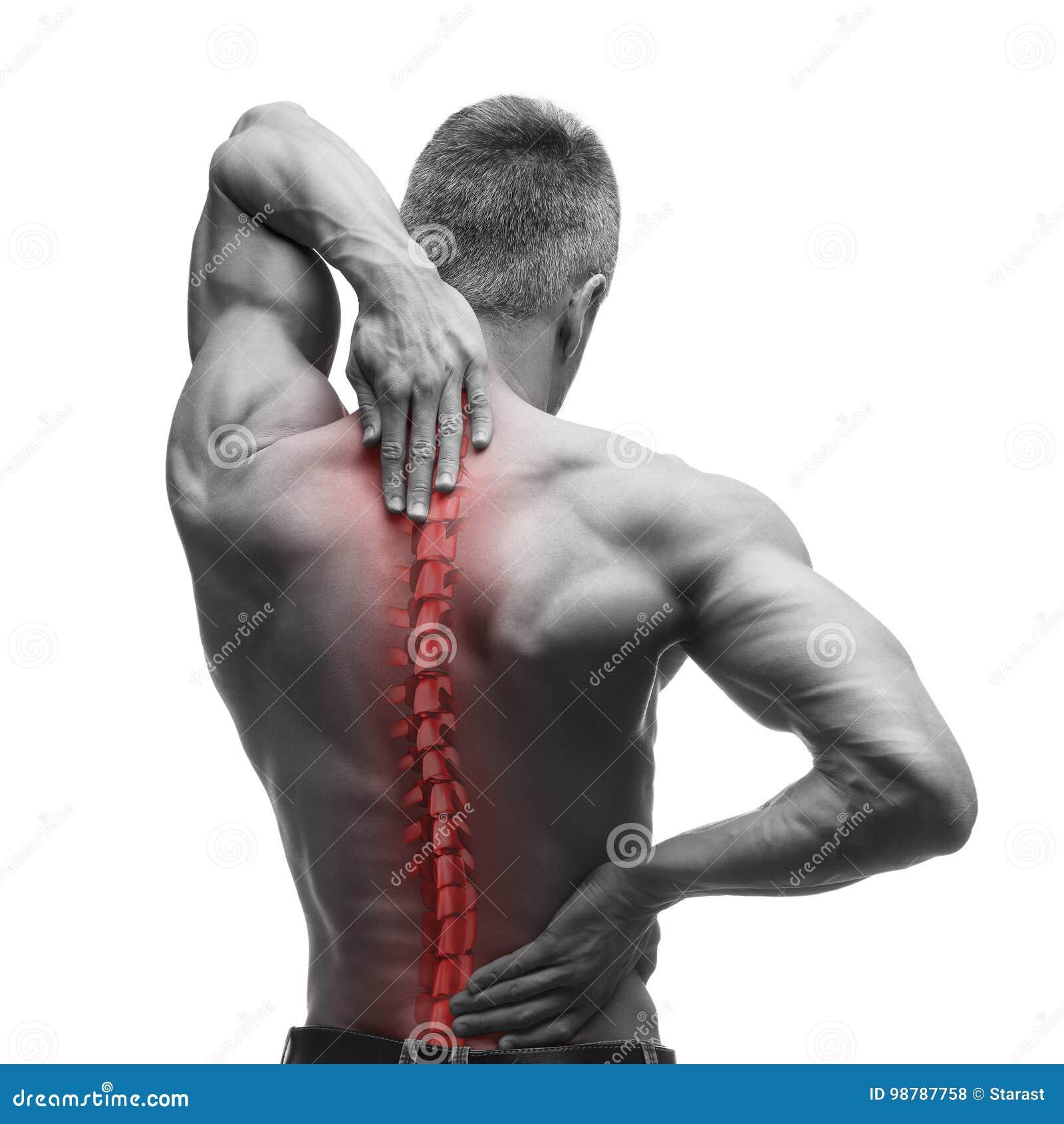 Πόνος σπονδυλικών στηλών, άτομο με τον πόνο στην πλάτη και τον πόνο στο λαιμό, γραπτή φωτογραφία με την κόκκινη σπονδυλική στήλη