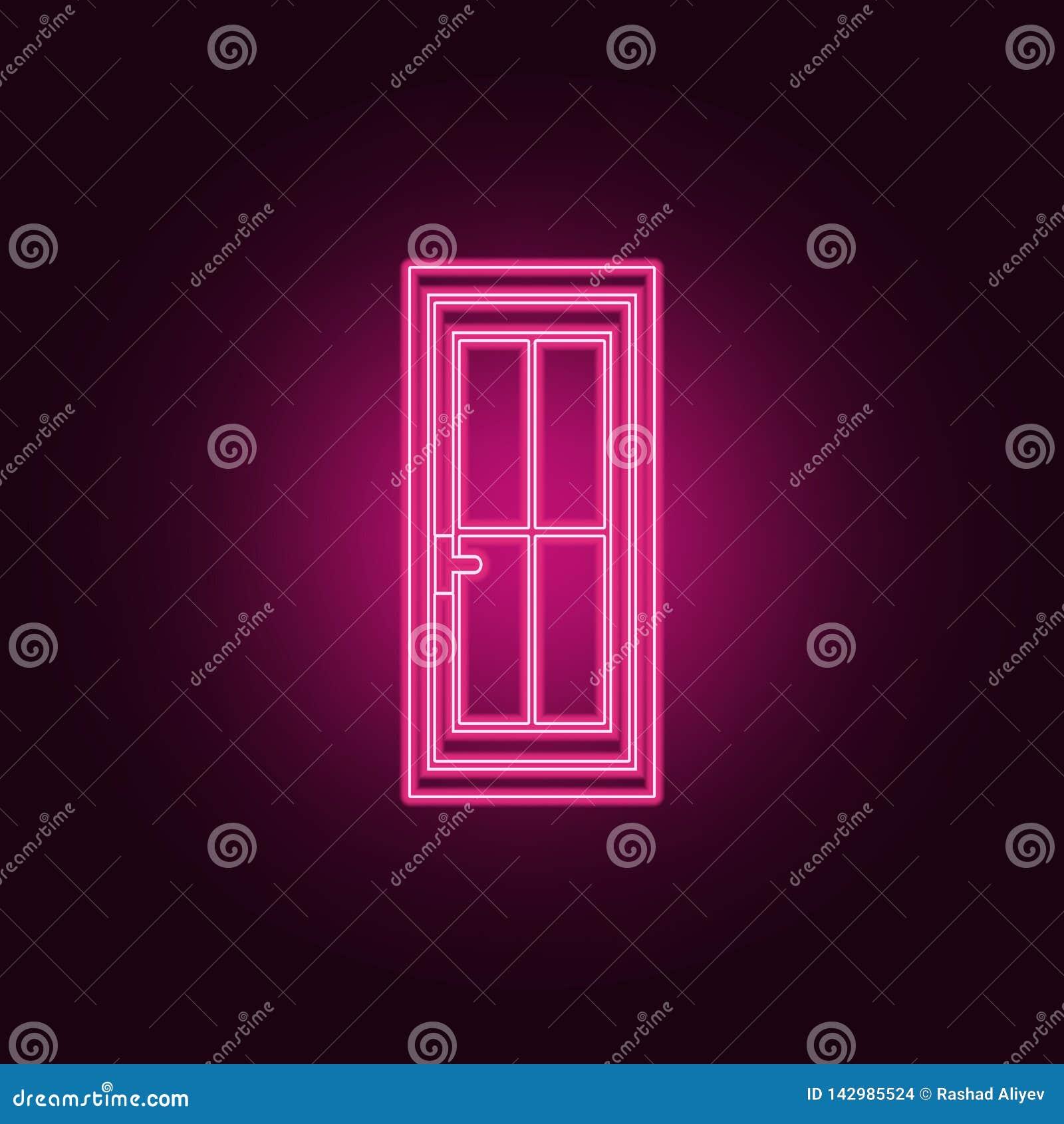 πόρτα με το εικονίδιο γυαλιού Στοιχεία της πόρτας στα εικονίδια ύφους νέου r