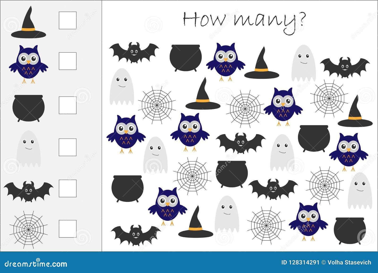 Πόσοι μετρώντας παιχνίδι με τις εικόνες αποκριών για τα παιδιά, εκπαιδευτικός στόχος μαθηματικών για την ανάπτυξη της λογικής σκέ