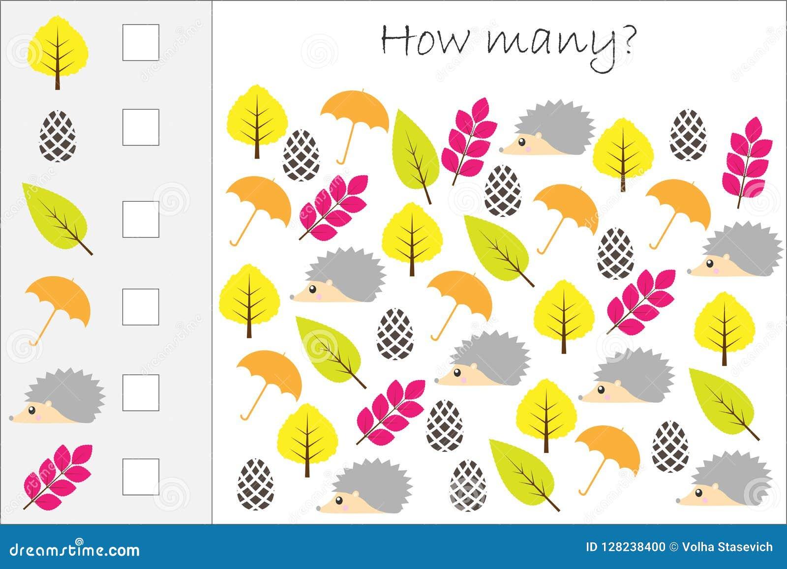 Πόσοι μετρώντας παιχνίδι με τις εικόνες φθινοπώρου για τα παιδιά, εκπαιδευτικός στόχος μαθηματικών για την ανάπτυξη της λογικής σ