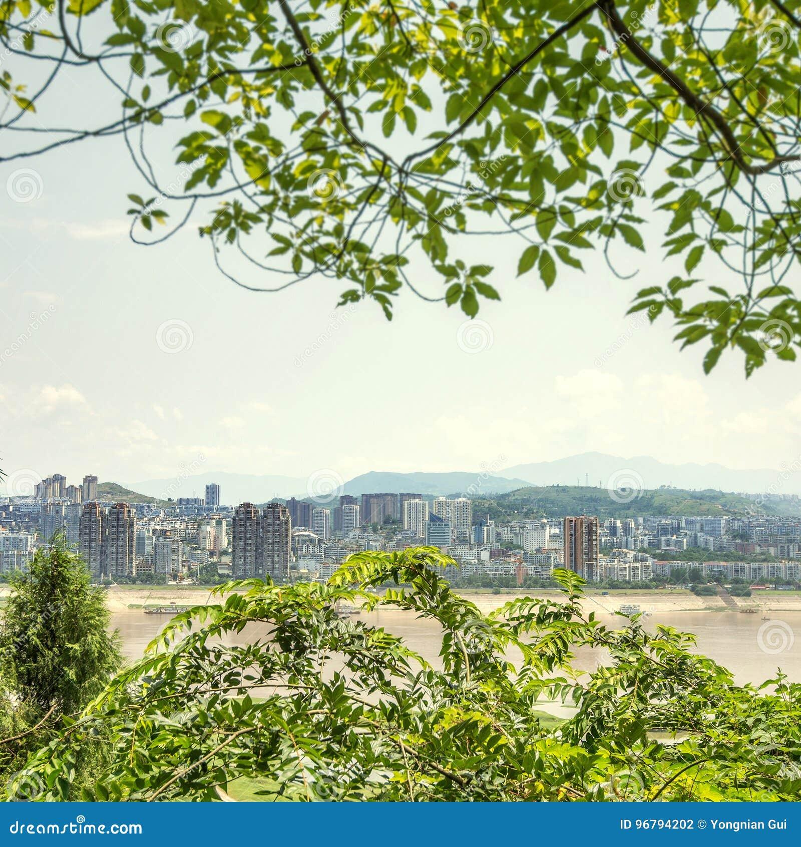 Πόλης τοπίο ποταμών της Κίνας Yangtze
