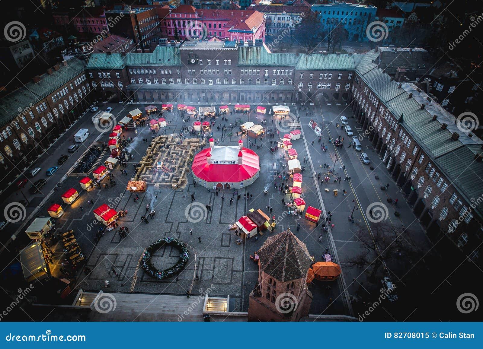 Πόλη Ουγγαρία Szeged Αγορά Χριστουγέννων εμφάνισης, εναέρια άποψη