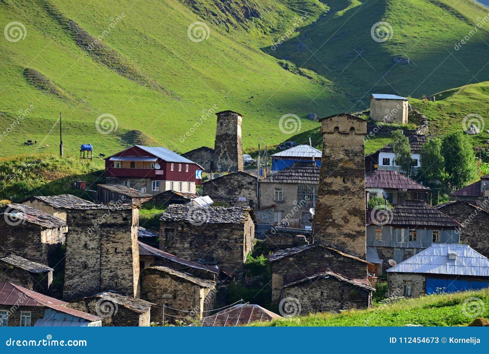 Πύργοι σε Ushguli, ανώτερο Svaneti, Γεωργία