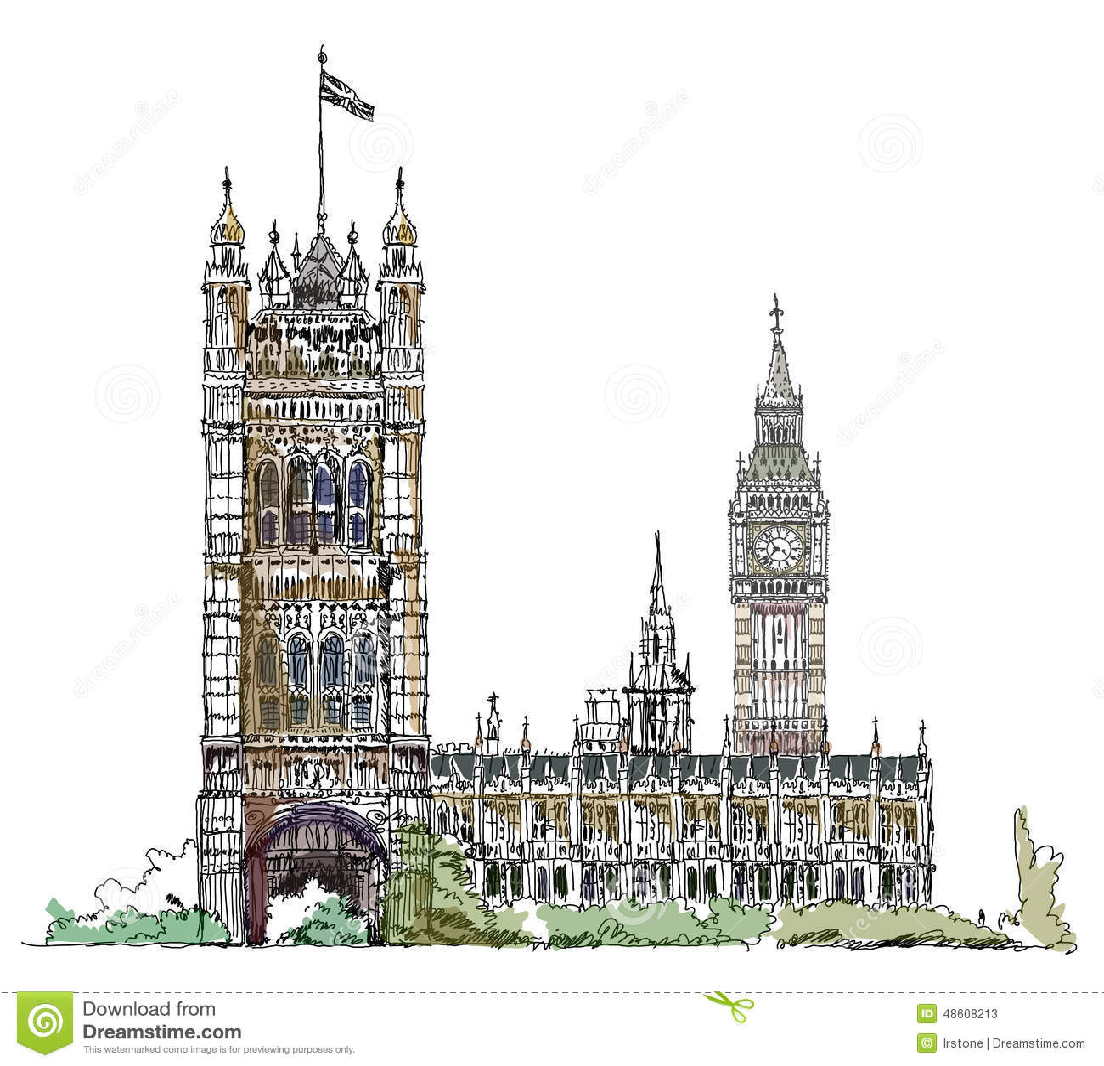 Πύργος Big Ben και του Κοινοβουλίου στο Λονδίνο, συλλογή σκίτσων, πύλη παλατιών Buckingham