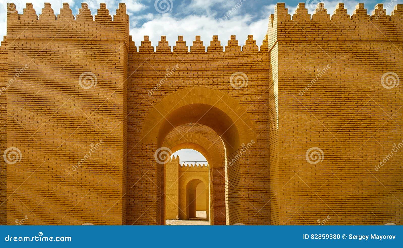 Πύλη των μερικώς αποκατεστημένων καταστροφών Babylon, Hillah Ιράκ