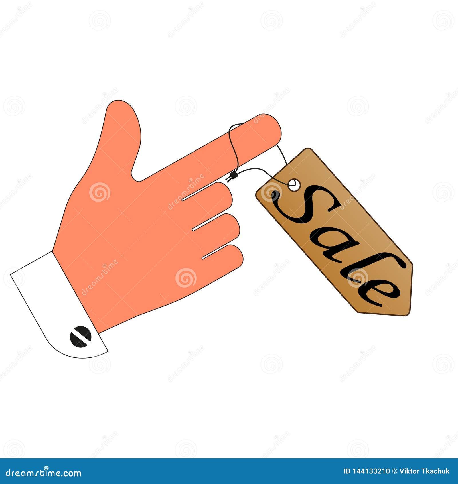 Πώληση έκπτωση ετικετών τιμών στο δάχτυλό σας λευκό απομόνωσης δυαδικών ψηφίων ανασκόπησης