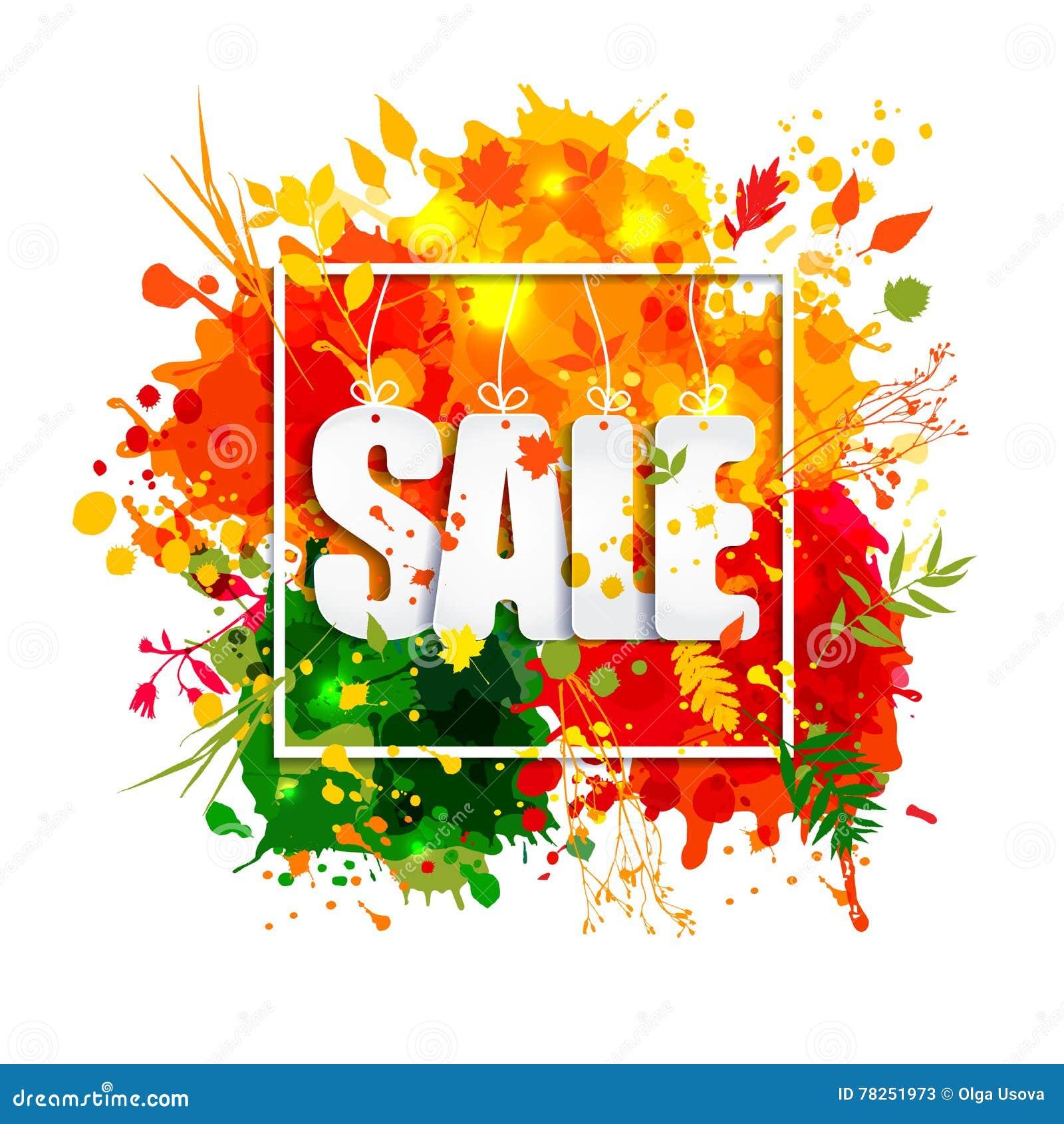 Πώληση κειμένων στο πλαίσιο στο ύφος εγγράφου στο πολύχρωμο υπόβαθρο λεκέδων