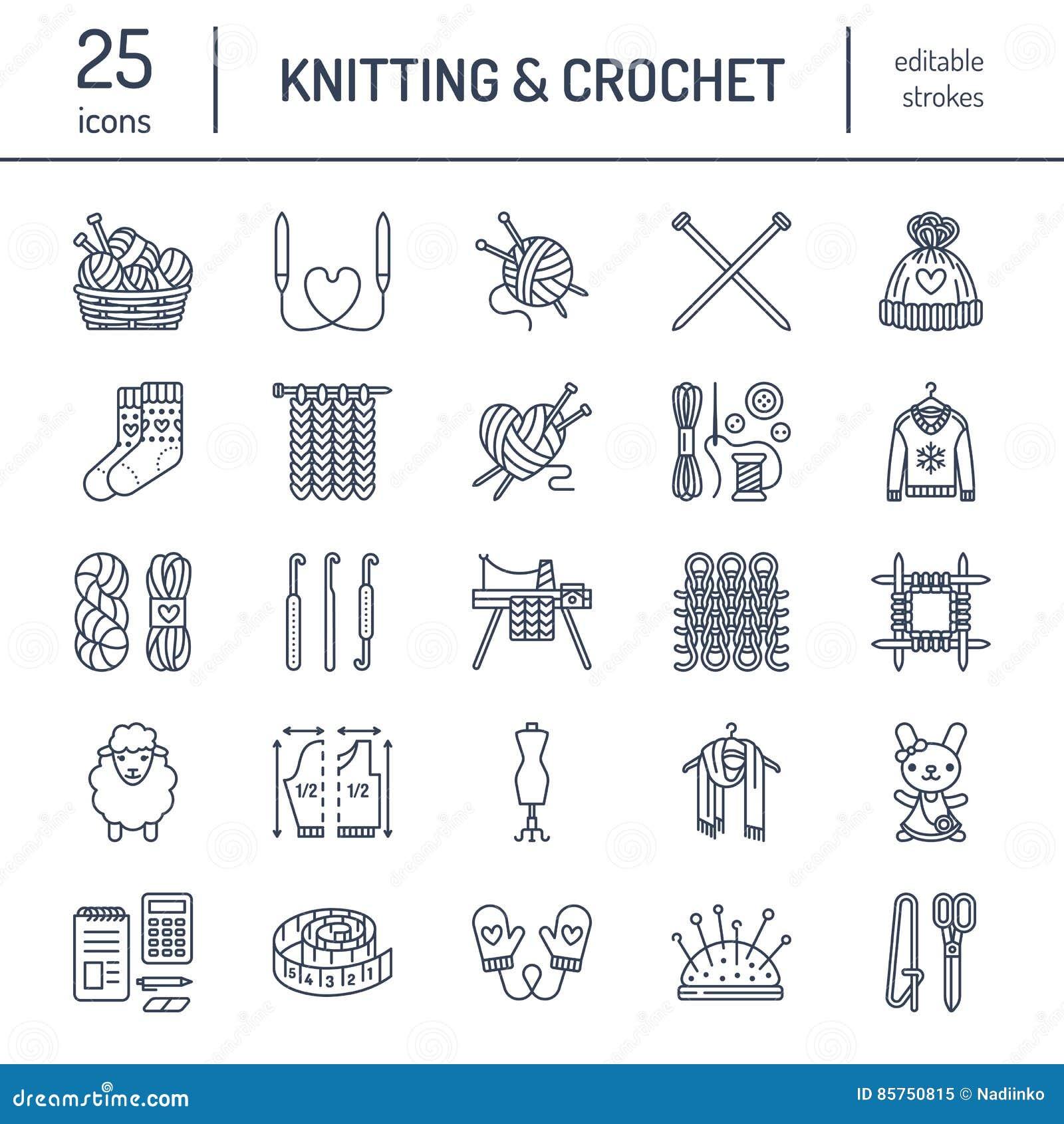 Πλέξιμο, τσιγγελάκι, χέρι - γίνοντα εικονίδια γραμμών καθορισμένα Πλέκοντας βελόνα, γάντζος, μαντίλι, κάλτσες, σχέδιο, νηματοδέμα
