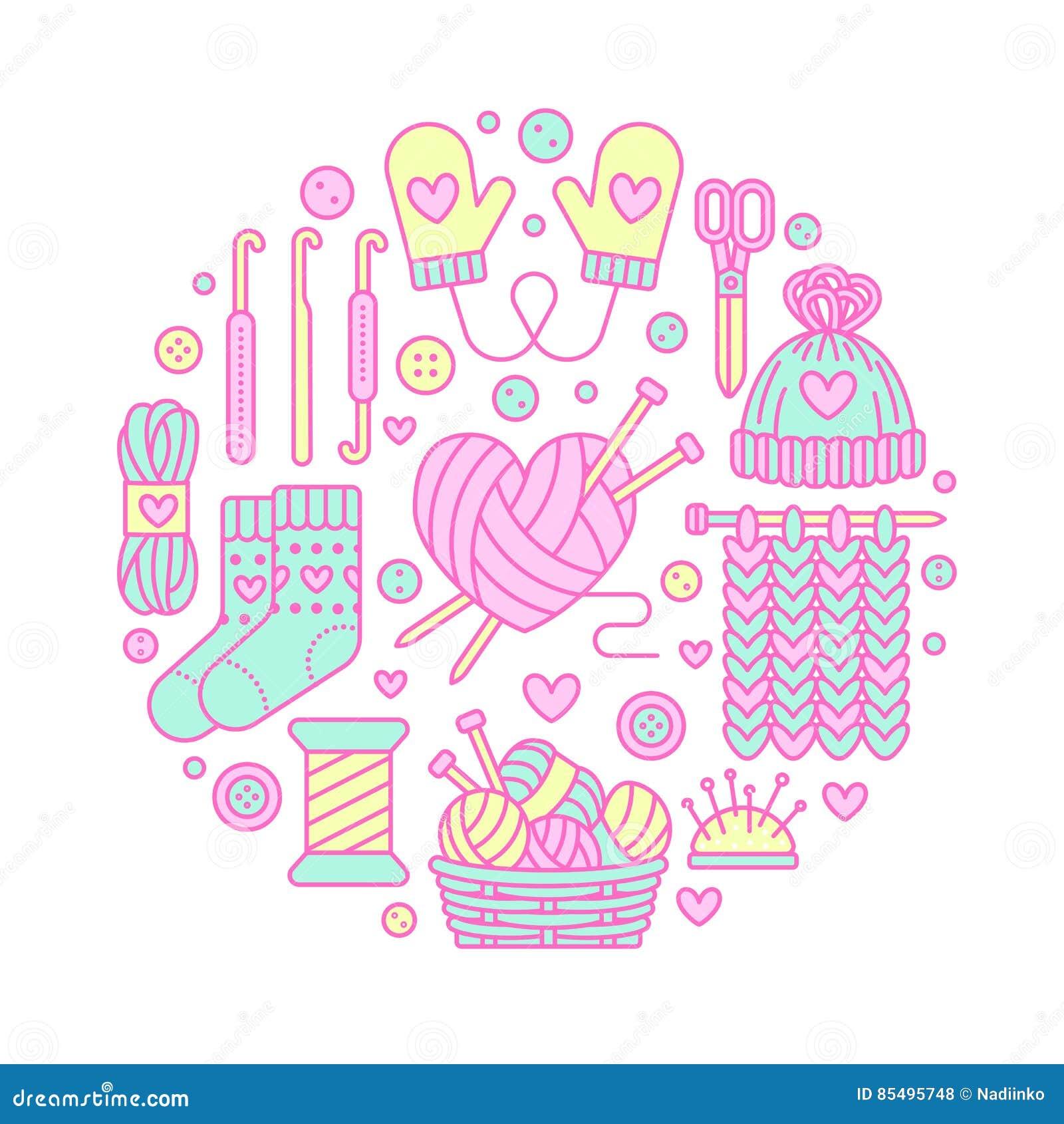 Πλέξιμο, τσιγγελάκι, χέρι - γίνοντη απεικόνιση εμβλημάτων Διανυσματική πλέκοντας βελόνα εικονιδίων γραμμών, γάντζος, μαντίλι, κάλ