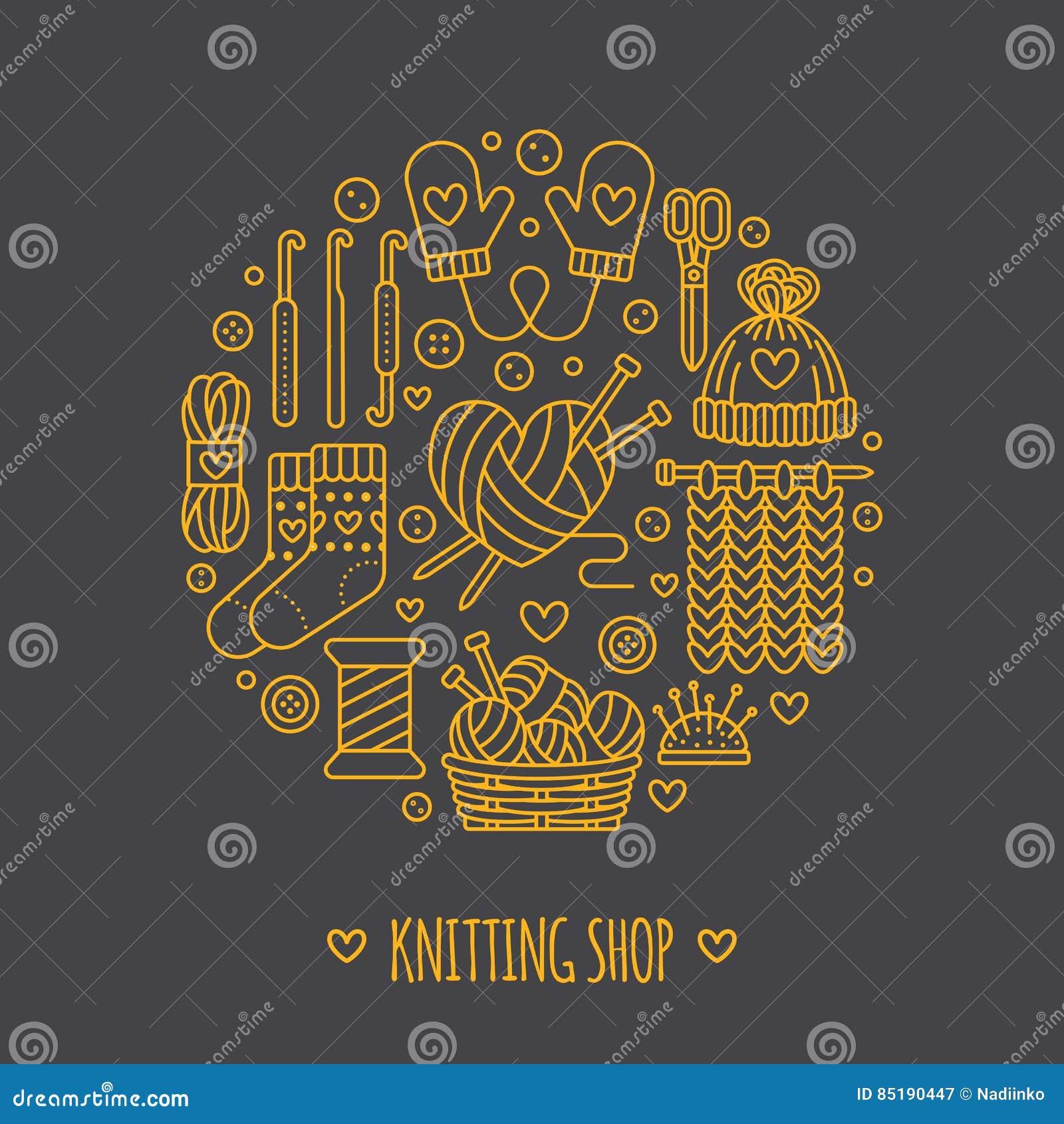 Πλέξιμο, τσιγγελάκι, χέρι - γίνοντη απεικόνιση εμβλημάτων Διανυσματική βελόνα εικονιδίων γραμμών, γάντζος, μαντίλι, κάλτσες, σχέδ