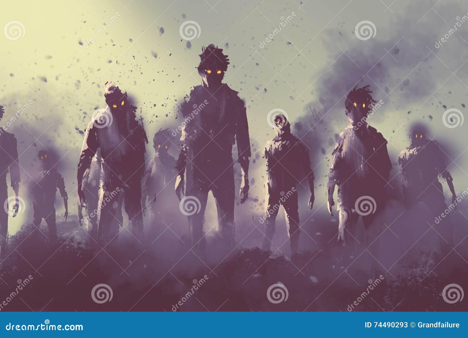 Πλήθος Zombie που περπατά τη νύχτα