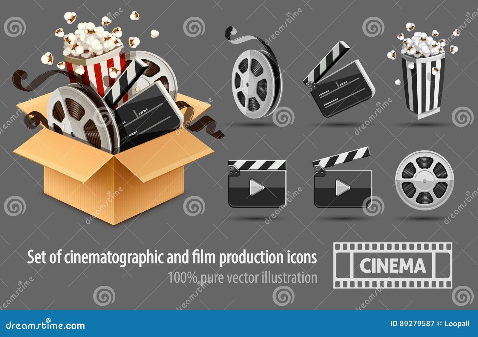 Πλήρης γεμισμένος κουτί από χαρτόνι κινηματογράφος και κινηματογραφία
