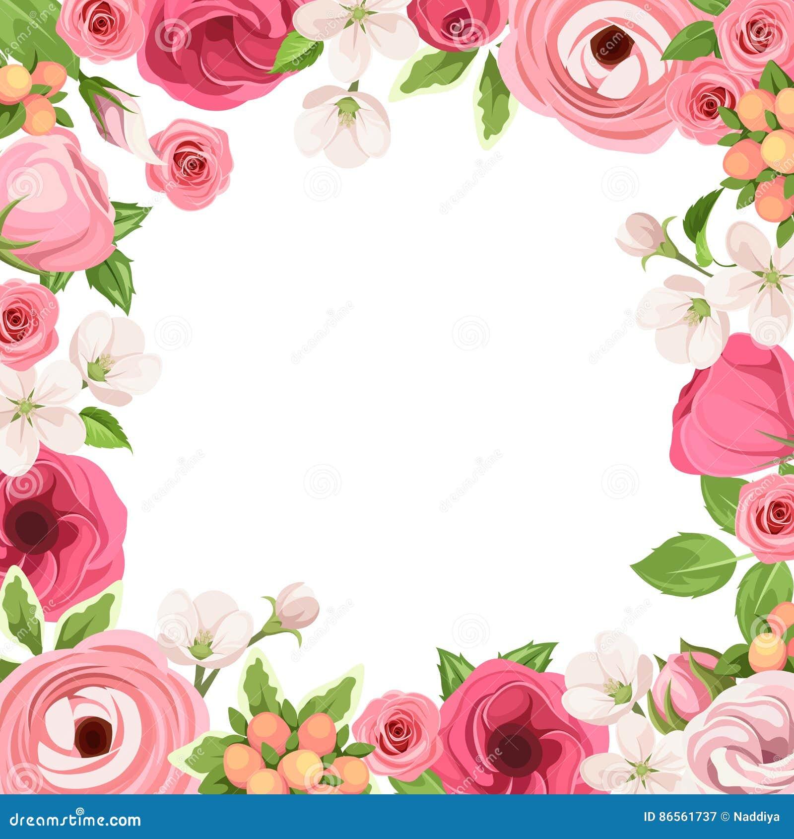 Πλαίσιο με τα κόκκινα και ρόδινα λουλούδια επίσης corel σύρετε το διάνυσμα απεικόνισης
