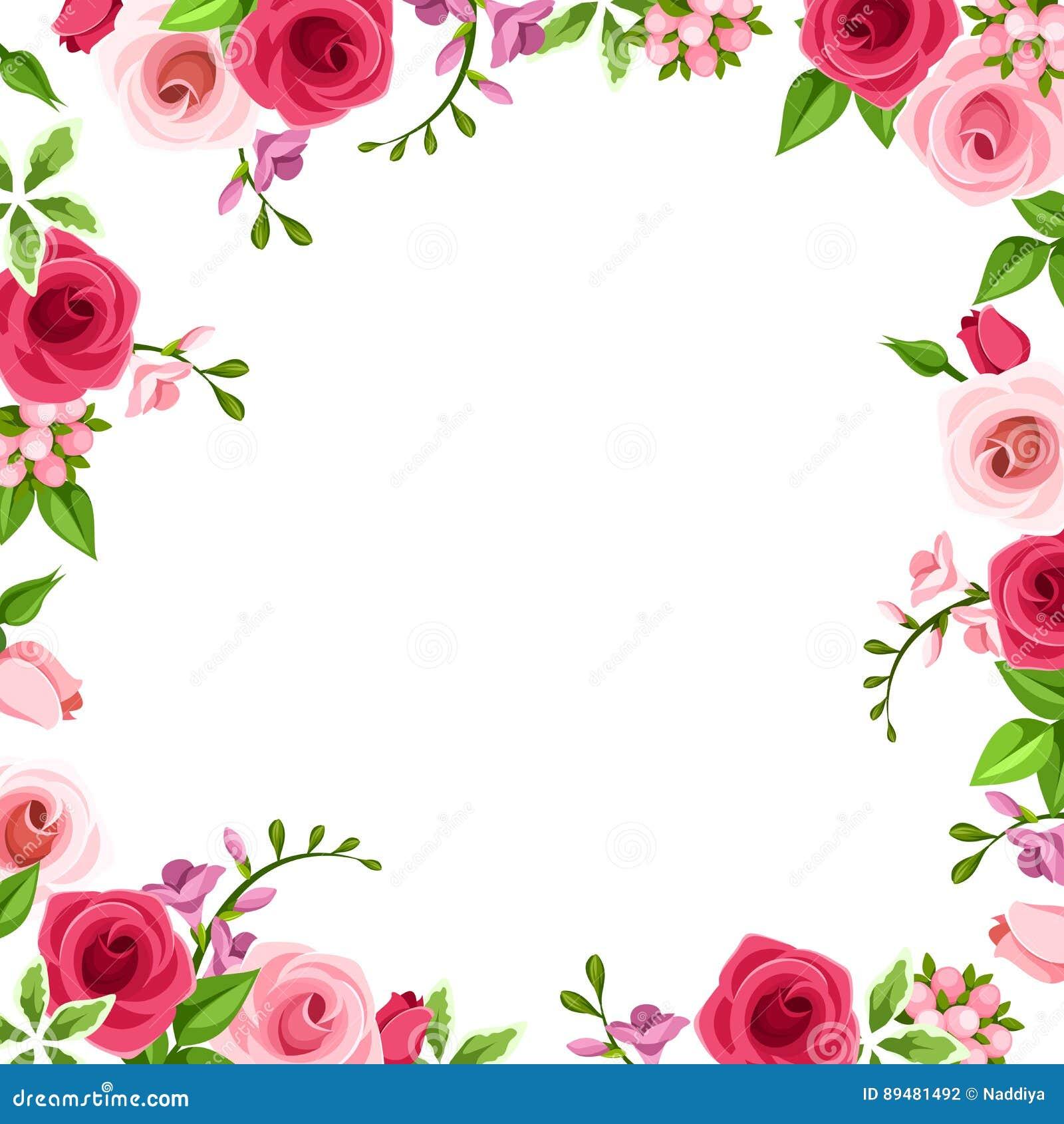 Πλαίσιο με τα κόκκινα και ρόδινα τριαντάφυλλα επίσης corel σύρετε το διάνυσμα απεικόνισης