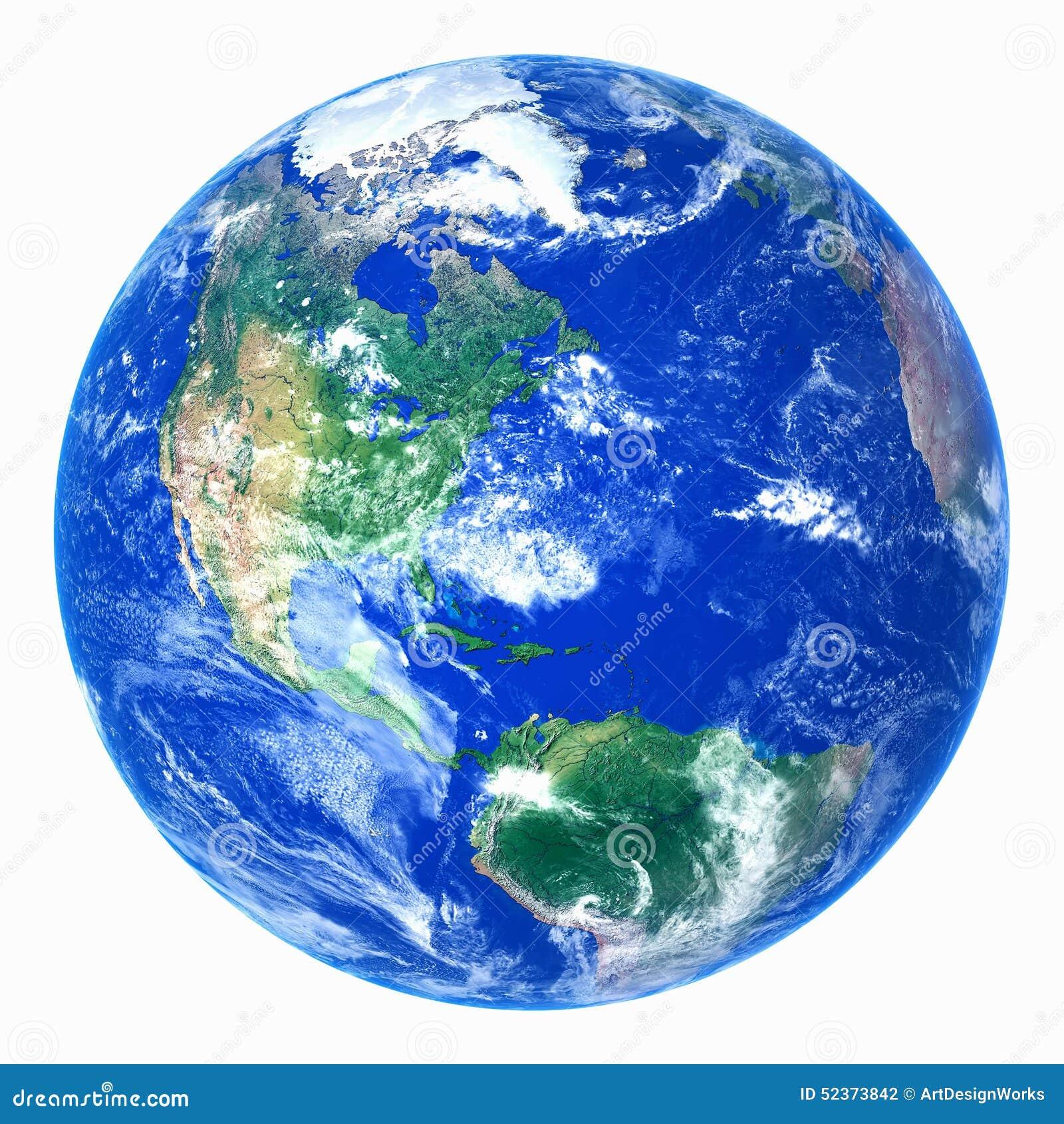 Ρεαλιστικός πλανήτης Γη στο άσπρο υπόβαθρο