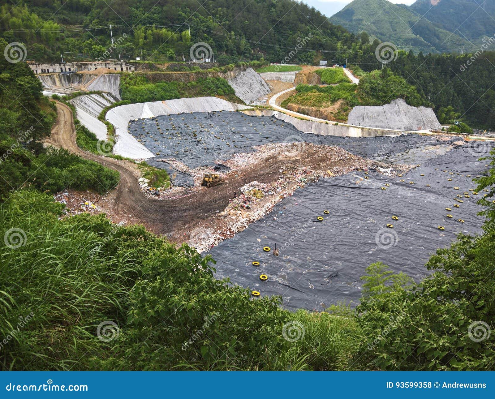 Πλαστικό, απορρίμματα, και απορρίματα που ρίχνονται σε μια κοιλάδα στην Κίνα