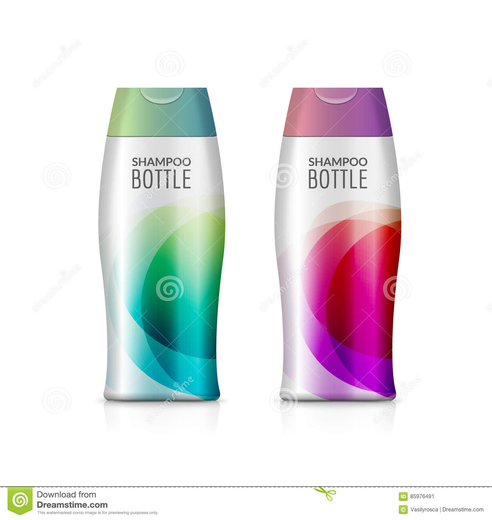 Πλαστικό σχέδιο προτύπων μπουκαλιών σαμπουάν ή μπουκαλιών πηκτωμάτων ντους Διανυσματική κενή χλεύη επάνω Προσοχή λουτρών κρέμας ή