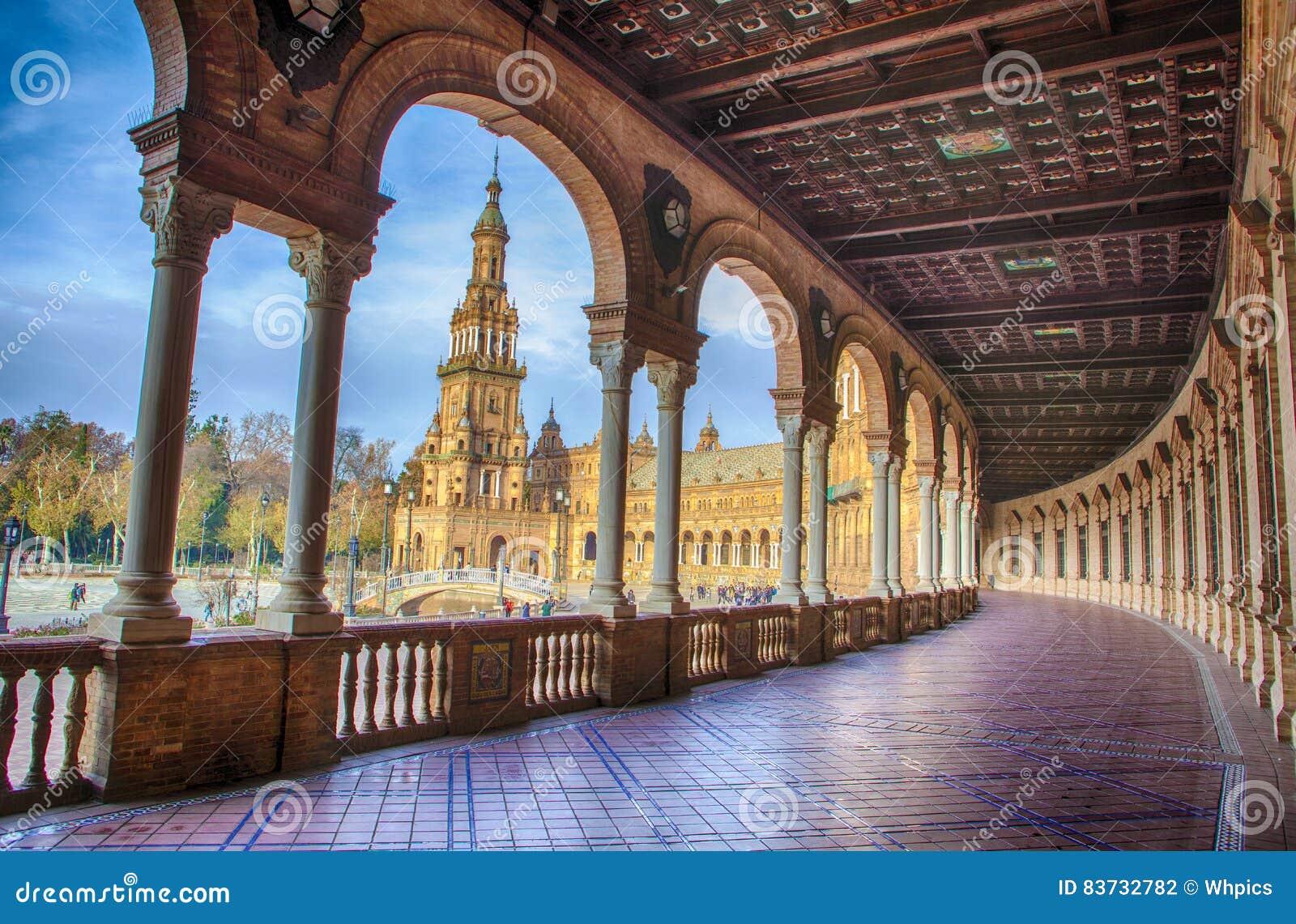Πλατεία της Ισπανίας, Plaza de Espana, Σεβίλη, Ισπανία Άποψη από το μέρος