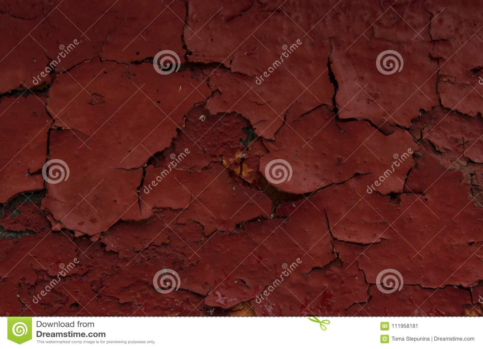 Ραγισμένο χρώμα στον τοίχο Παλαιό υπόβαθρο τοίχων Firebrick