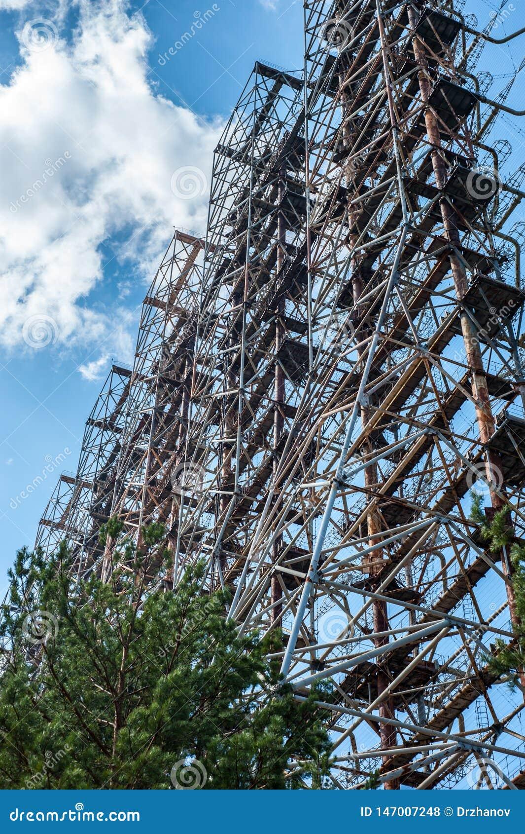 """Ραδιο κέντρο σε Pripyat, περιοχή του Τσέρνομπιλ γνωστή ως """"τόξο """"ή """"Duga """""""