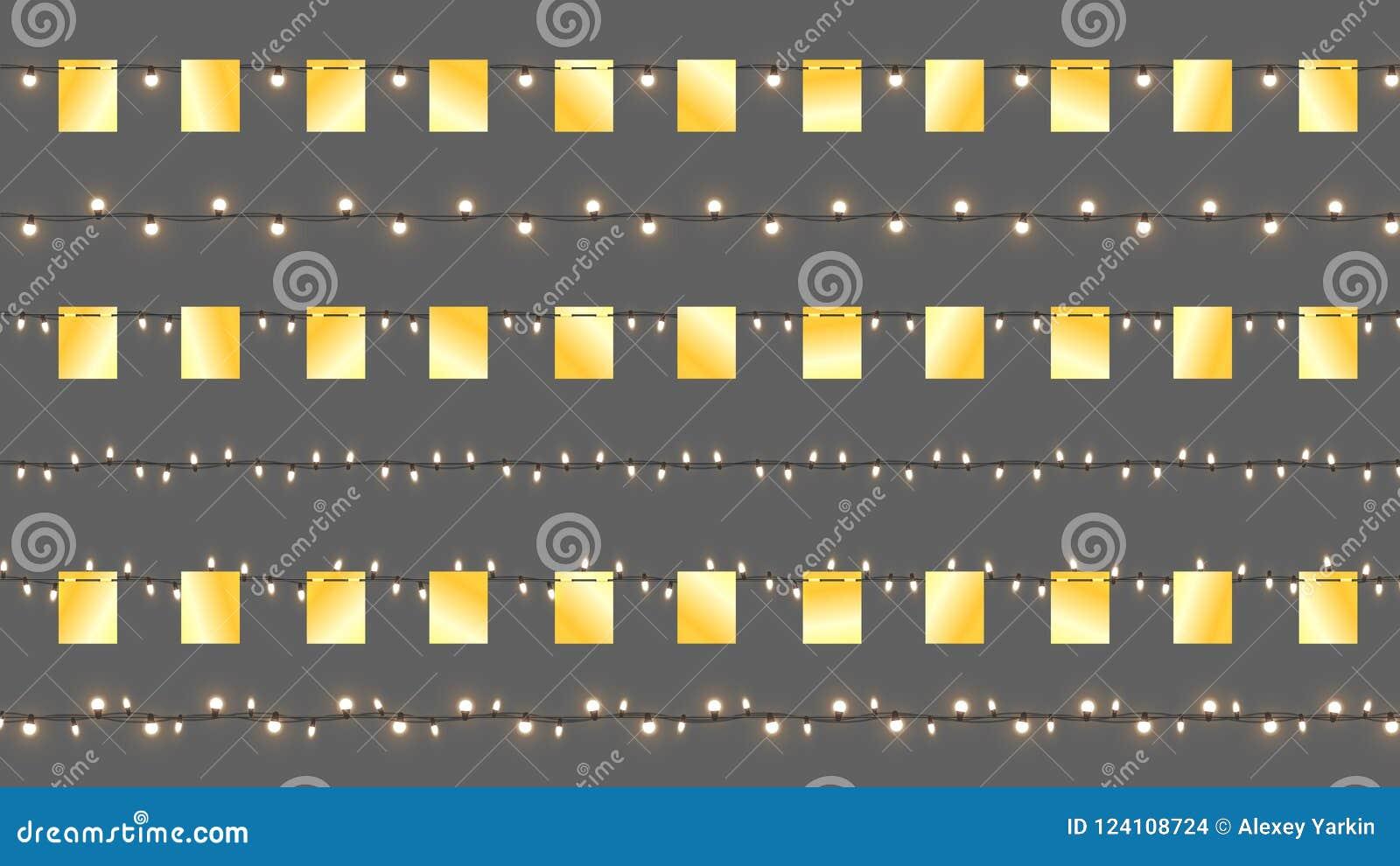 Ρεαλιστικές διανυσματικές γιρλάντες Cristmas Απομονωμένες γιρλάντες με τις χρυσές σημαίες και τους λαμπρούς λαμπτήρες Διανυσματικ