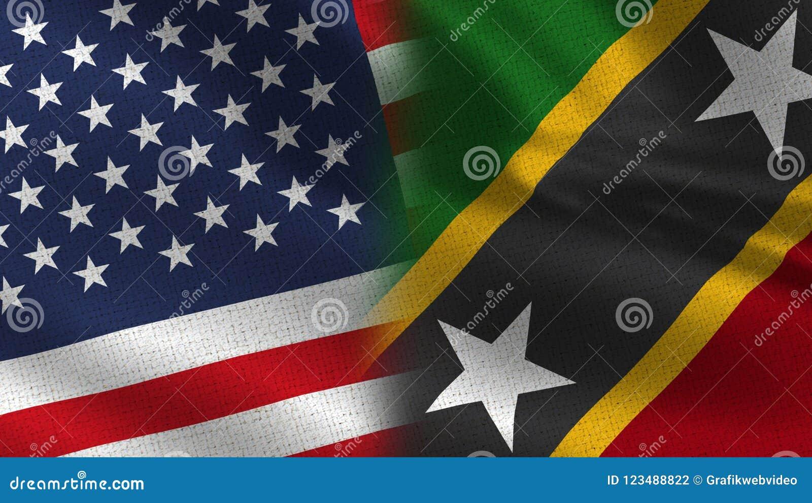 Ρεαλιστικές μισές σημαίες των ΗΠΑ και Σαιντ Κιτς και Νέβις από κοινού