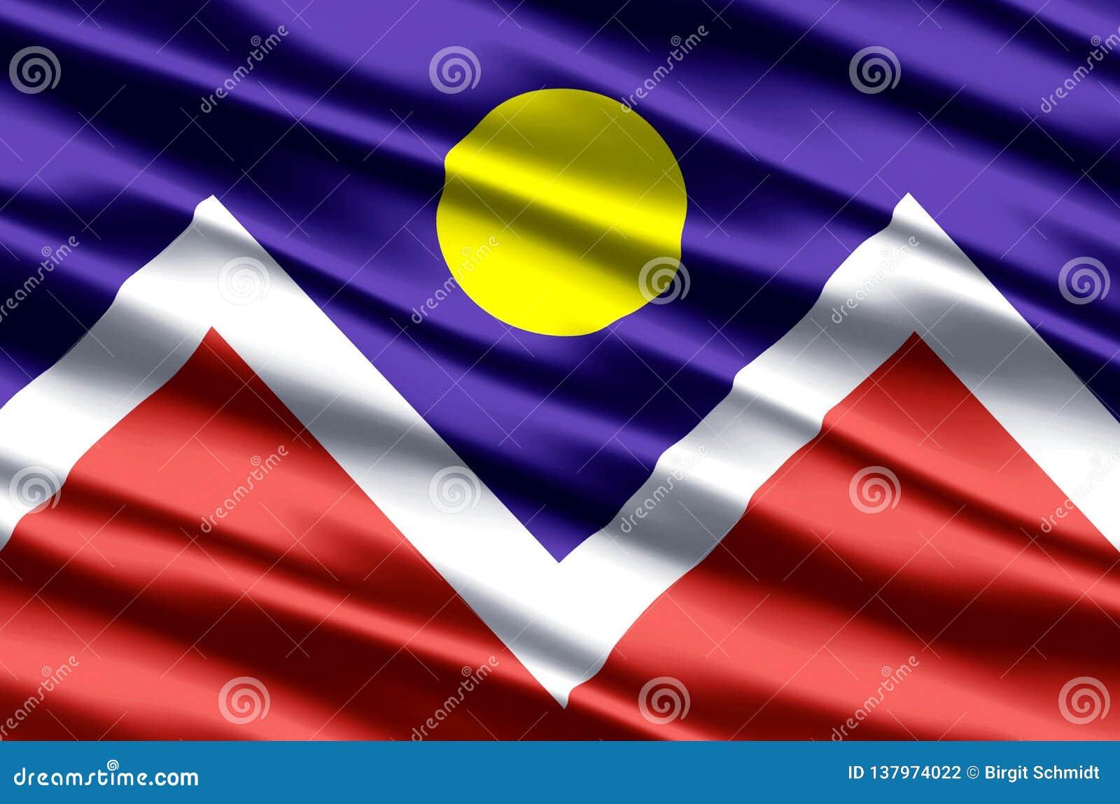 Ρεαλιστική απεικόνιση σημαιών του Ντένβερ Κολοράντο