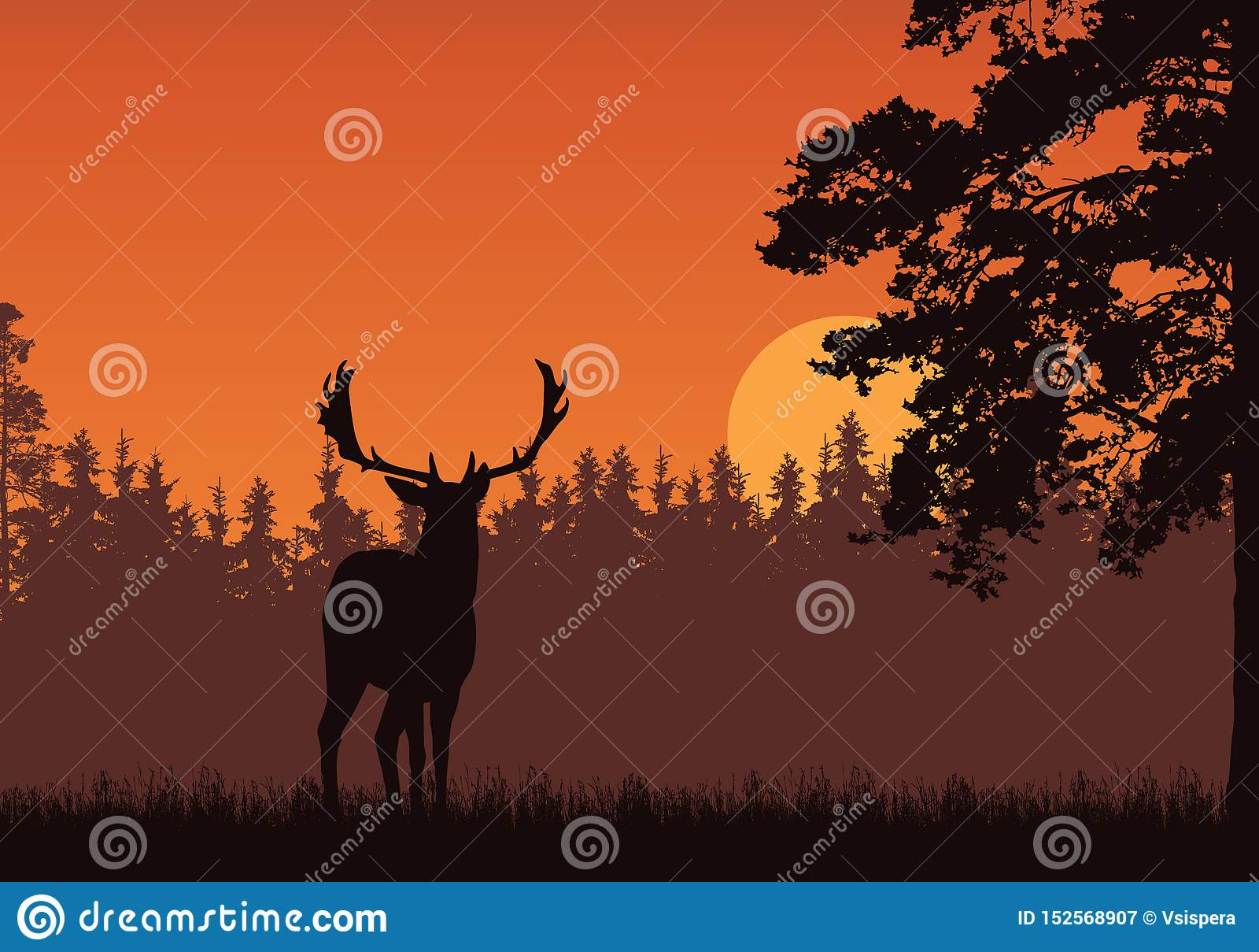 Ρεαλιστική απεικόνιση της στάσης των ελαφιών, της χλόης και του υψηλού δέντρου Δάσος κάτω από τον πορτοκαλή ουρανό με την ανατολή