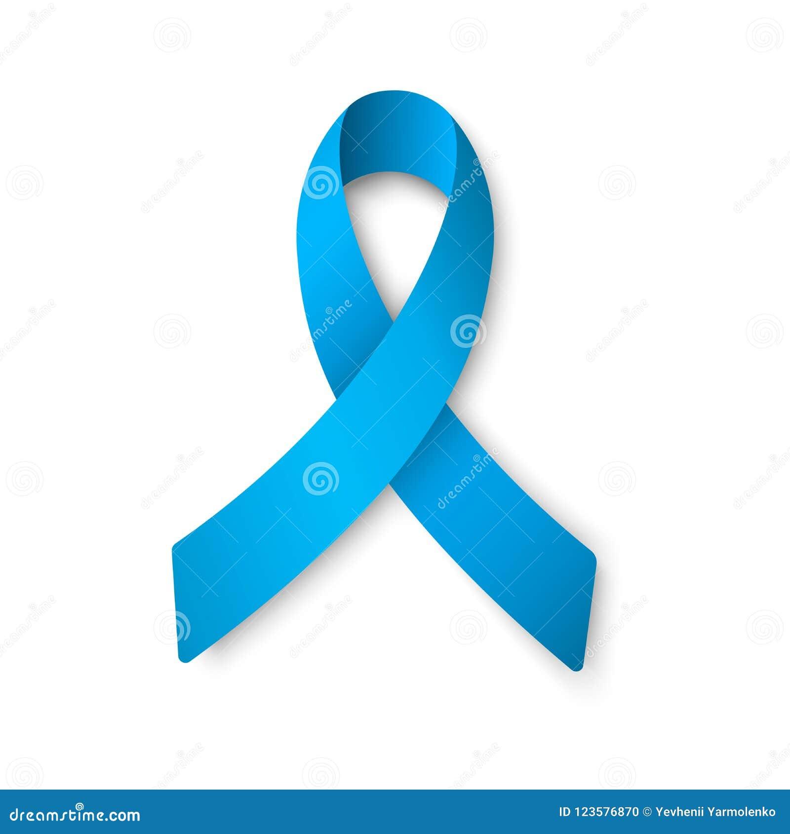 Ρεαλιστική μπλε κορδέλλα Έννοια ημέρας παγκόσμιου προστατική καρκίνου Έννοια υγειονομικής περίθαλψης ατόμων