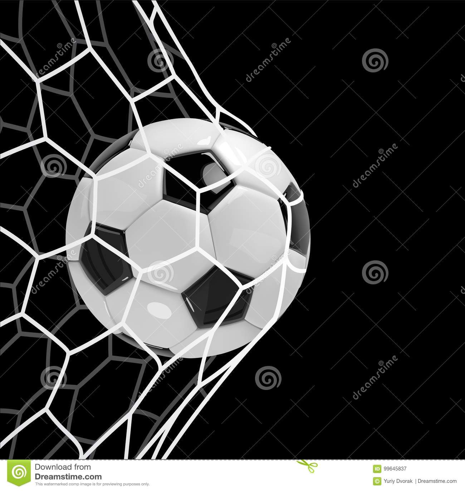 Ρεαλιστική σφαίρα ποδοσφαίρου ή σφαίρα ποδοσφαίρου σε καθαρό στο μαύρο υπόβαθρο τρισδιάστατη διανυσματική σφαίρα ύφους