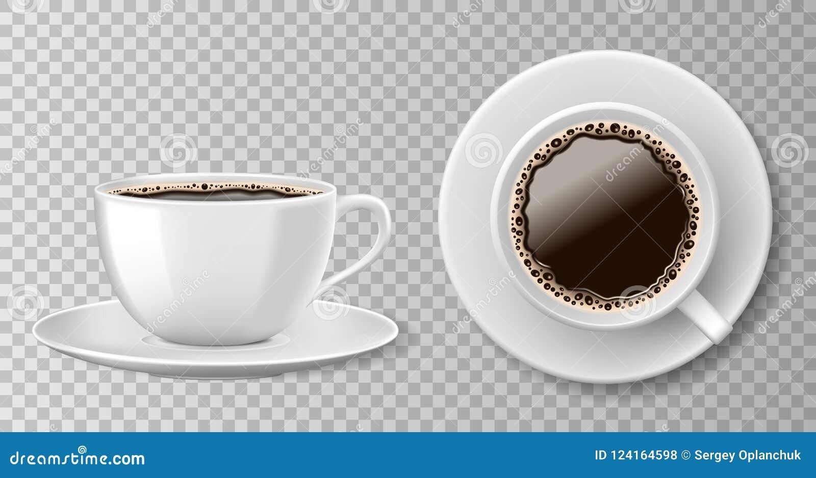 Ρεαλιστική τοπ άποψη φλυτζανιών καφέ που απομονώνεται στο διαφανές υπόβαθρο Άσπρη κενή κούπα με το μαύρους καφέ και το πιατάκι δι
