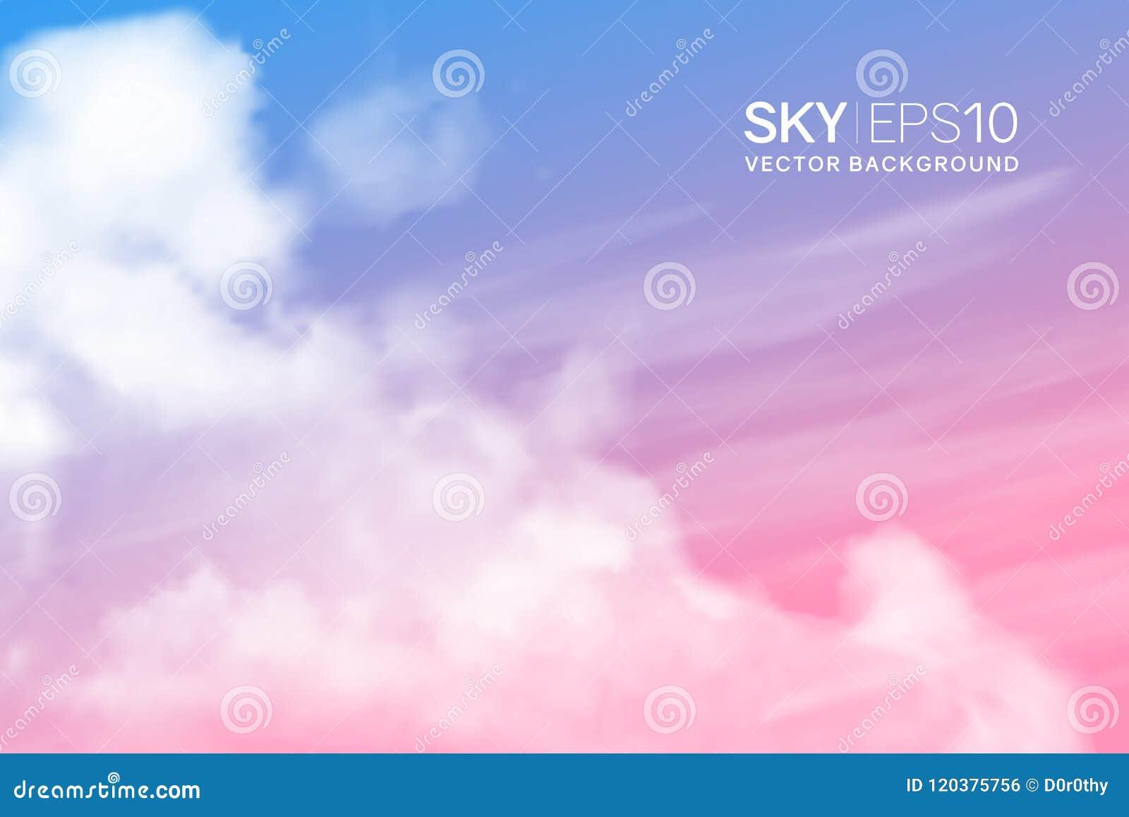Ρεαλιστικός ρόδινος-μπλε ουρανός