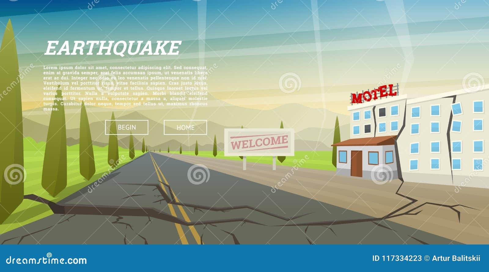 Ρεαλιστικός σεισμός με την επίγεια ρωγμή και το σπίτι με τη ρωγμή Φυσική καταστροφή ή κατακλυσμός, καταστροφή και