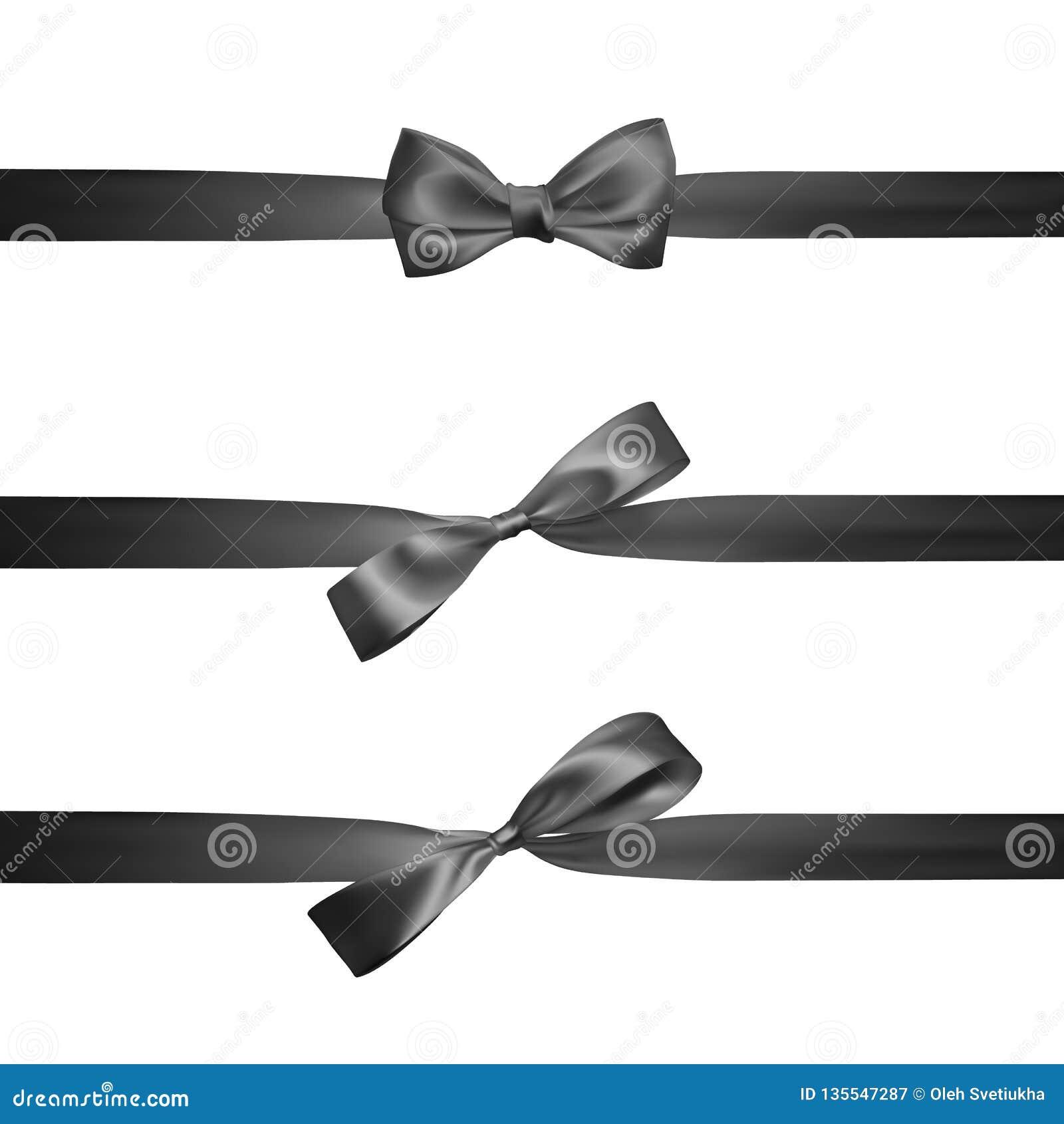 Ρεαλιστικό μαύρο τόξο με τις οριζόντιες μαύρες κορδέλλες που απομονώνεται στο λευκό Στοιχείο για τα δώρα διακοσμήσεων, χαιρετισμο