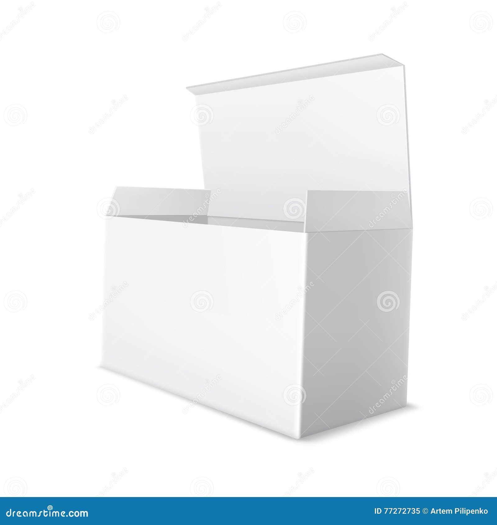 Ρεαλιστική άσπρη συσκευασία χαρτονιού Ανοικτό, κενό κενό κιβώτιο