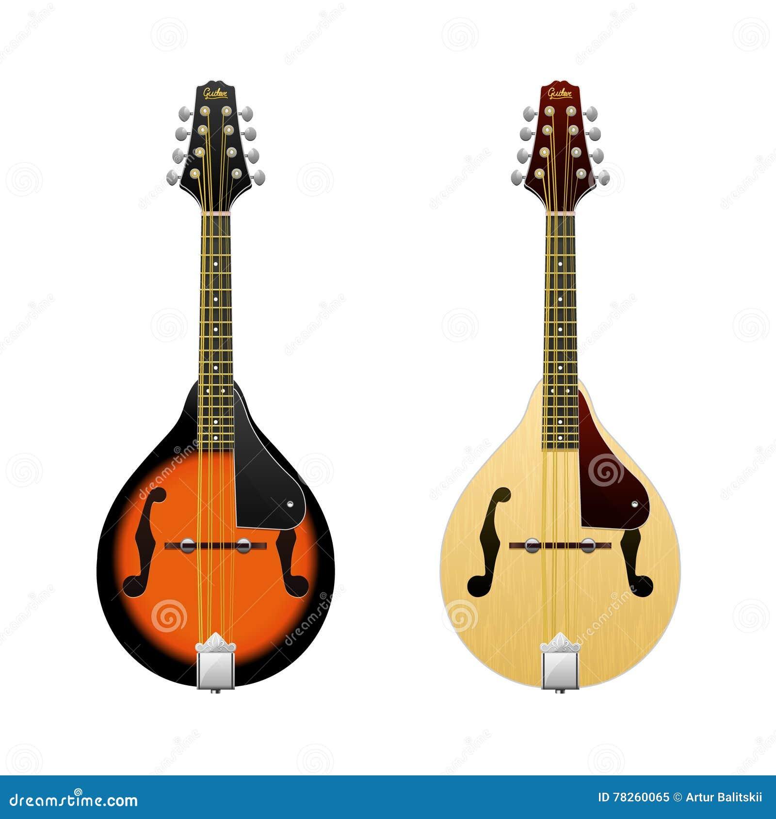 Ρεαλιστικό διανυσματικό μαντολίνο που απομονώνεται στις άσπρες μίνι-κιθάρες οργάνων φολκλορικής μουσικής μαντολίνων κατά την μπρο