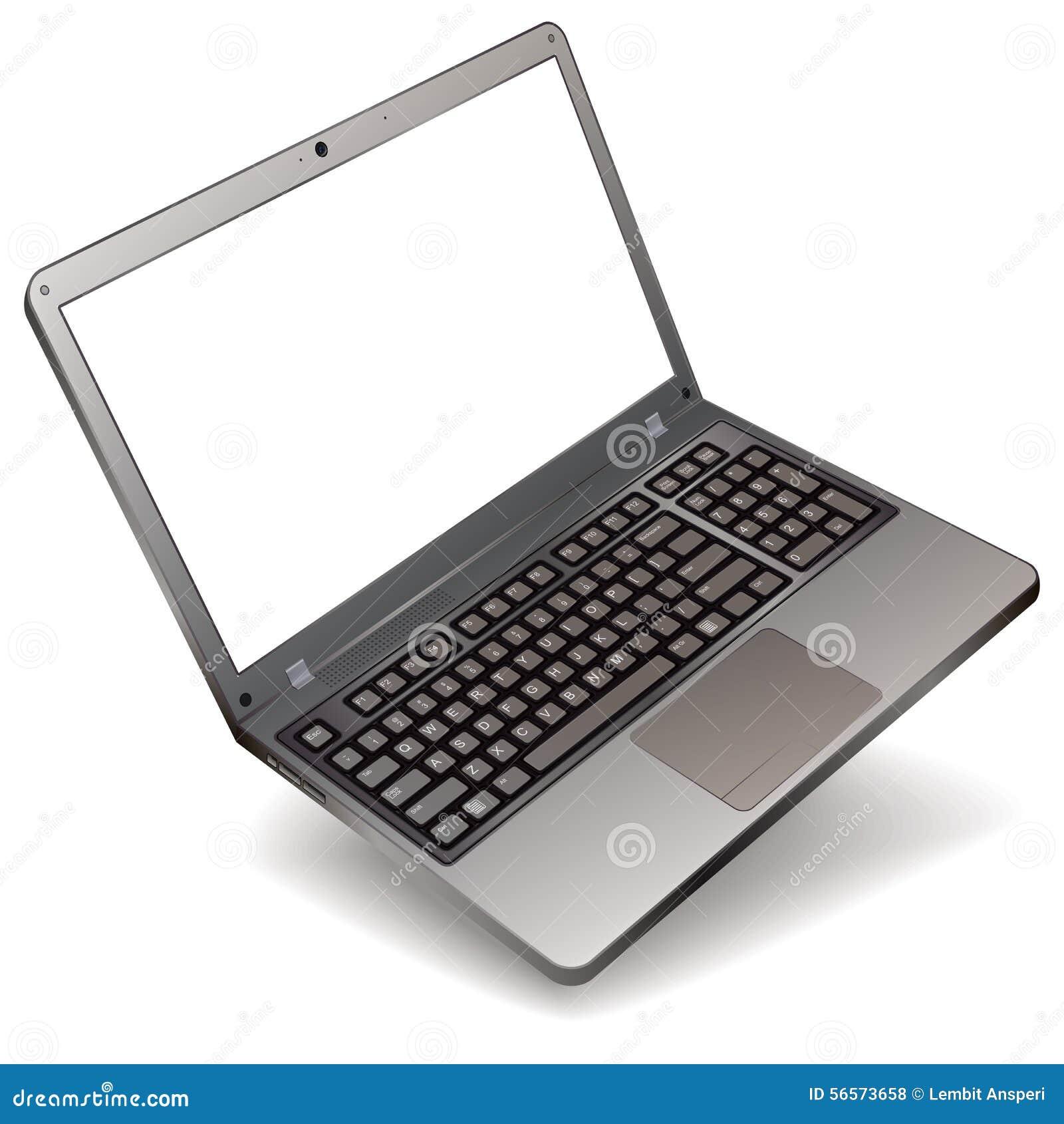Download Ρεαλιστικό Lap-top φωτογραφιών στο άσπρο υπόβαθρο Διανυσματική απεικόνιση - εικονογραφία από σχέδιο, μέτωπο: 56573658