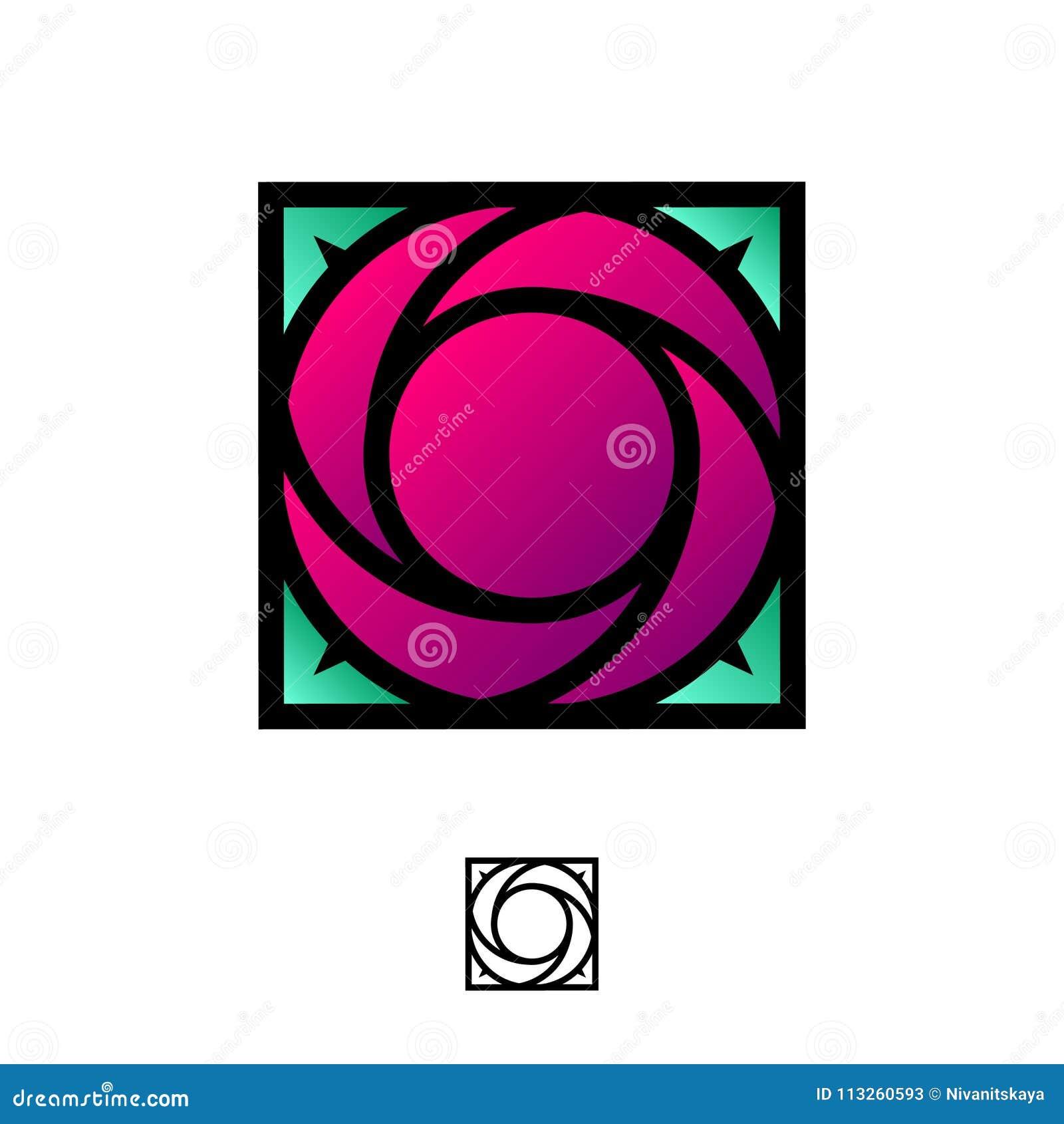 Ροδοκόκκινος αυξήθηκε λογότυπο ως χρωματισμένο γυαλί, λεκιασμένο γυαλί Λογότυπο για τη μπουτίκ, SPA, ομορφιά
