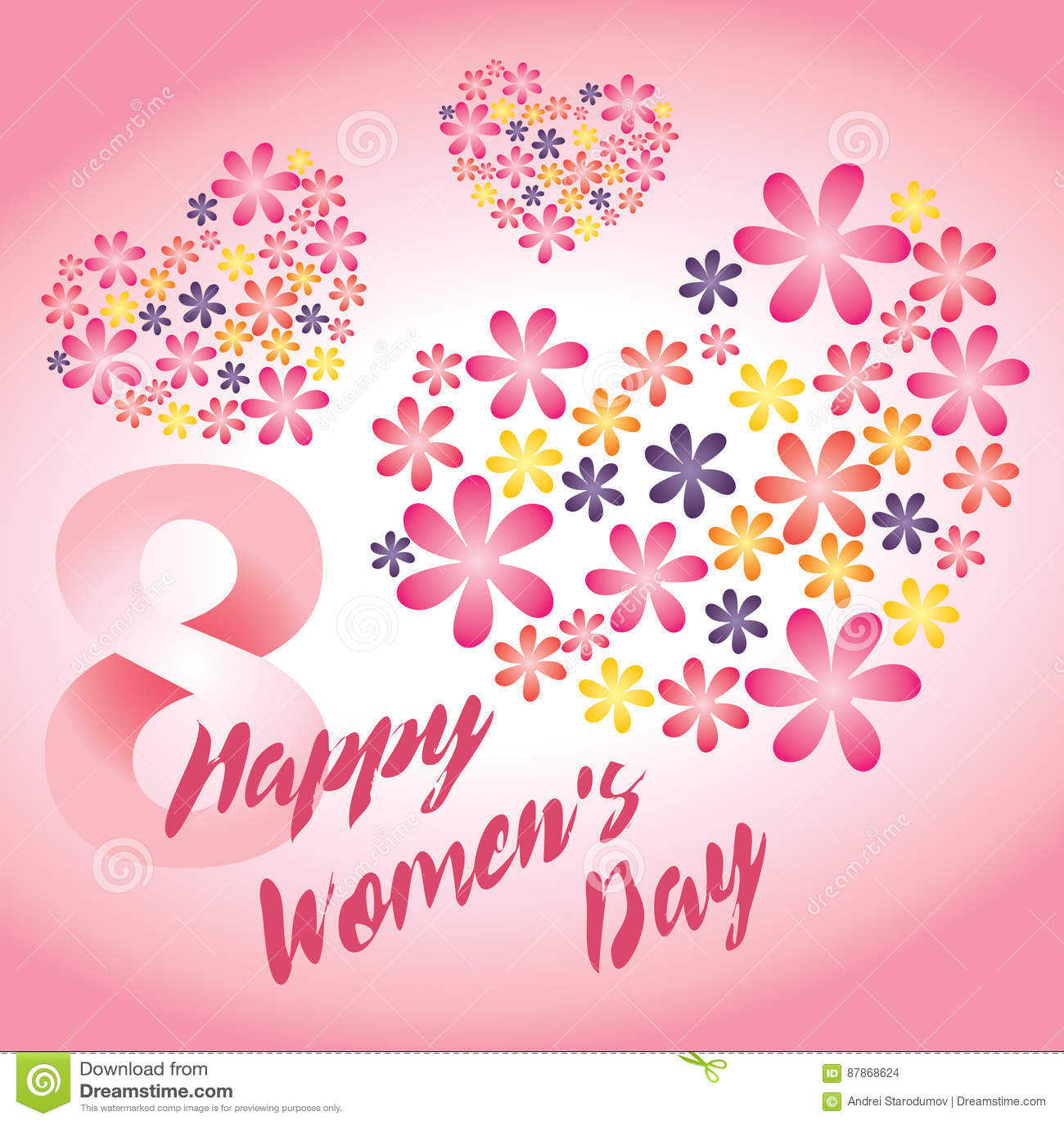 Ροζ διανυσματική κάρτα ημέρας γυναικών ` s