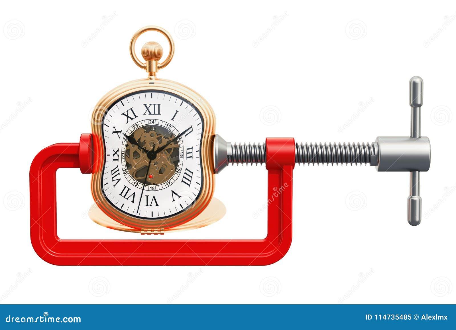 Ρολόι τσεπών που συμπιέζεται σε μια έννοια σφιγκτηρών, τρισδιάστατη απόδοση