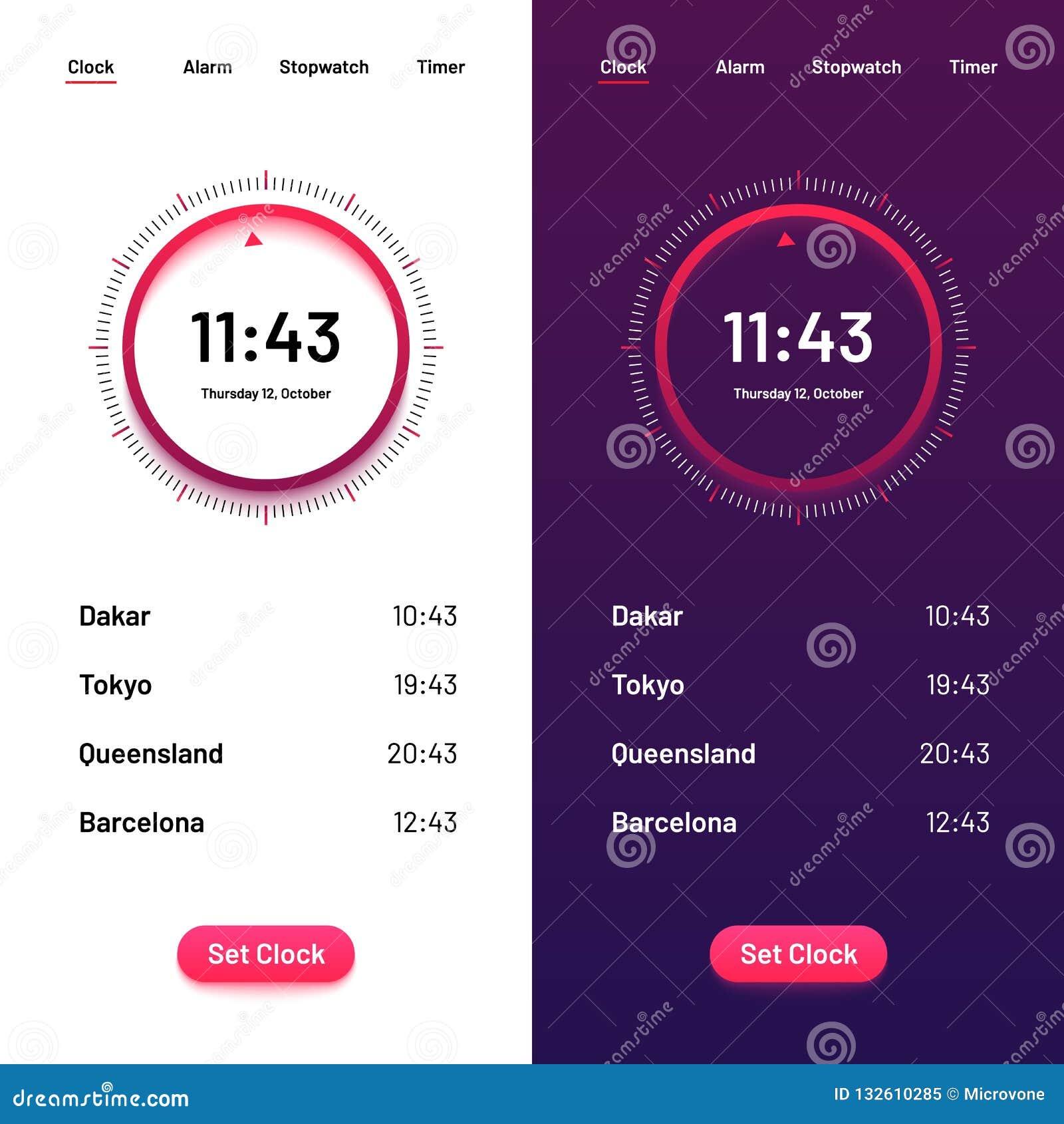 Ρολόι App Χρονική αντίστροφη μέτρηση ui για μέρα και νύχτα Διεπαφή ρολογιών για τη διανυσματική απεικόνιση smartphone