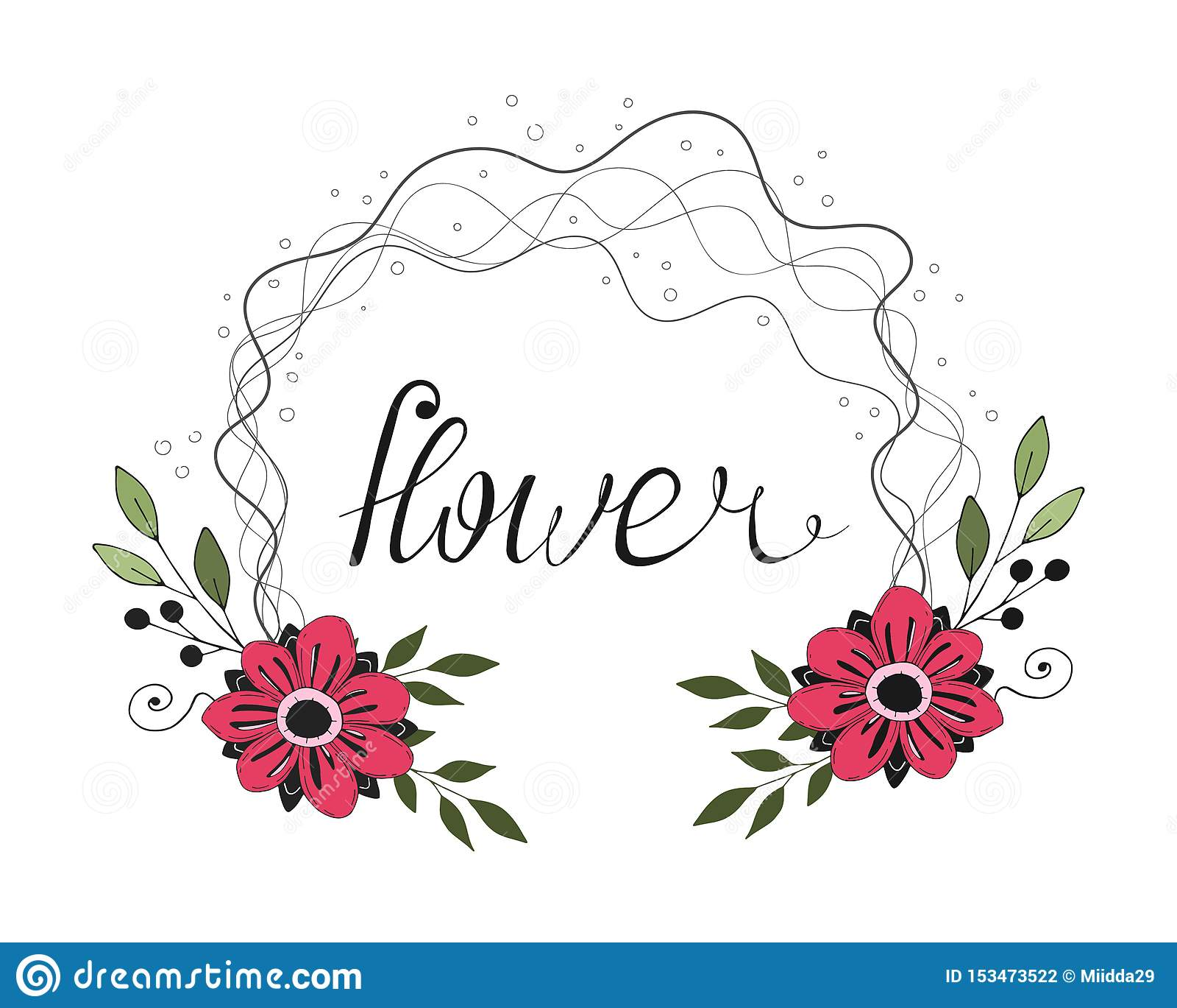 Ρομαντικό χρωματισμένο κινούμενα σχέδια πλαίσιο λουλουδιών με τη caligraphic επιγραφή r