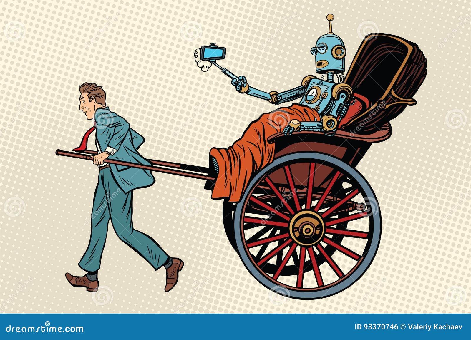 Ρομπότ γύρου δίτροχων χειραμαξών ανθρώπων