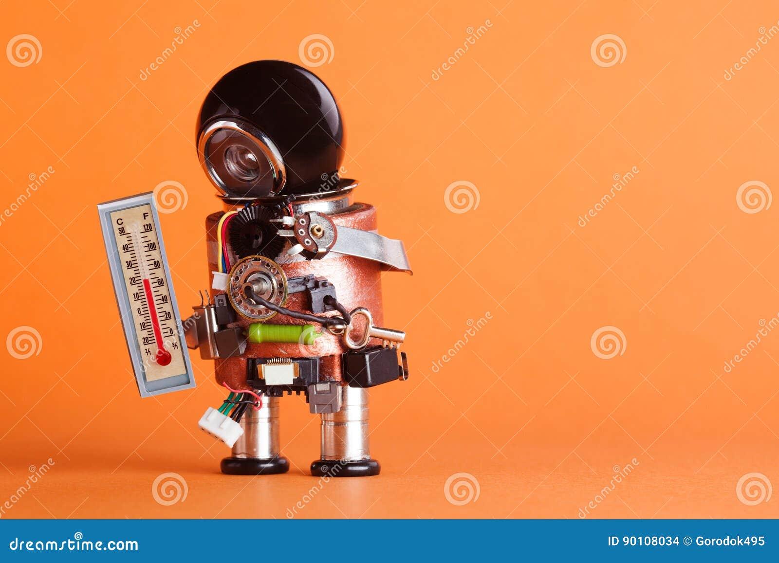 Ρομπότ καιρικών ειδικών στις προβλέψεις που φαίνεται θερμοκρασία δωματίου άνεσης θερμομέτρων 21 βαθμός Κέλσιος Χαρακτήρας παιχνιδ